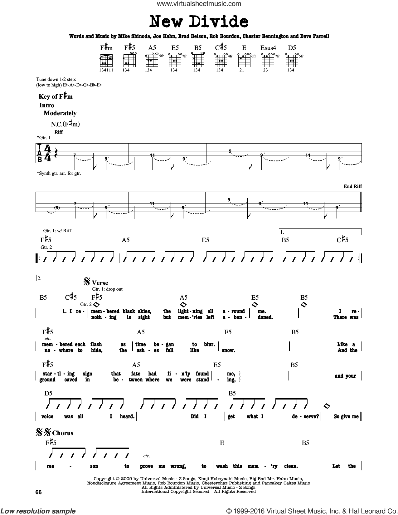 New Divide sheet music for guitar solo (lead sheet) by Rob Bourdon, Linkin Park, Brad Delson and Mike Shinoda. Score Image Preview.