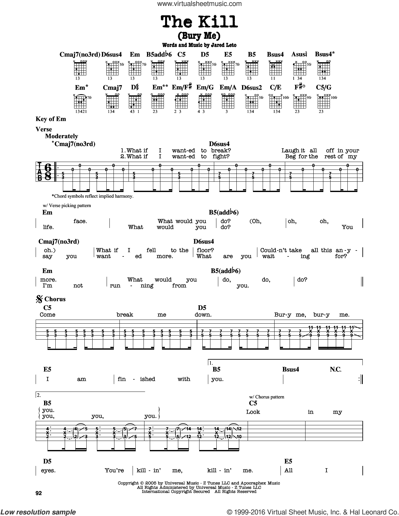 The Kill (Bury Me) sheet music for guitar solo (lead sheet) by Jared Leto. Score Image Preview.