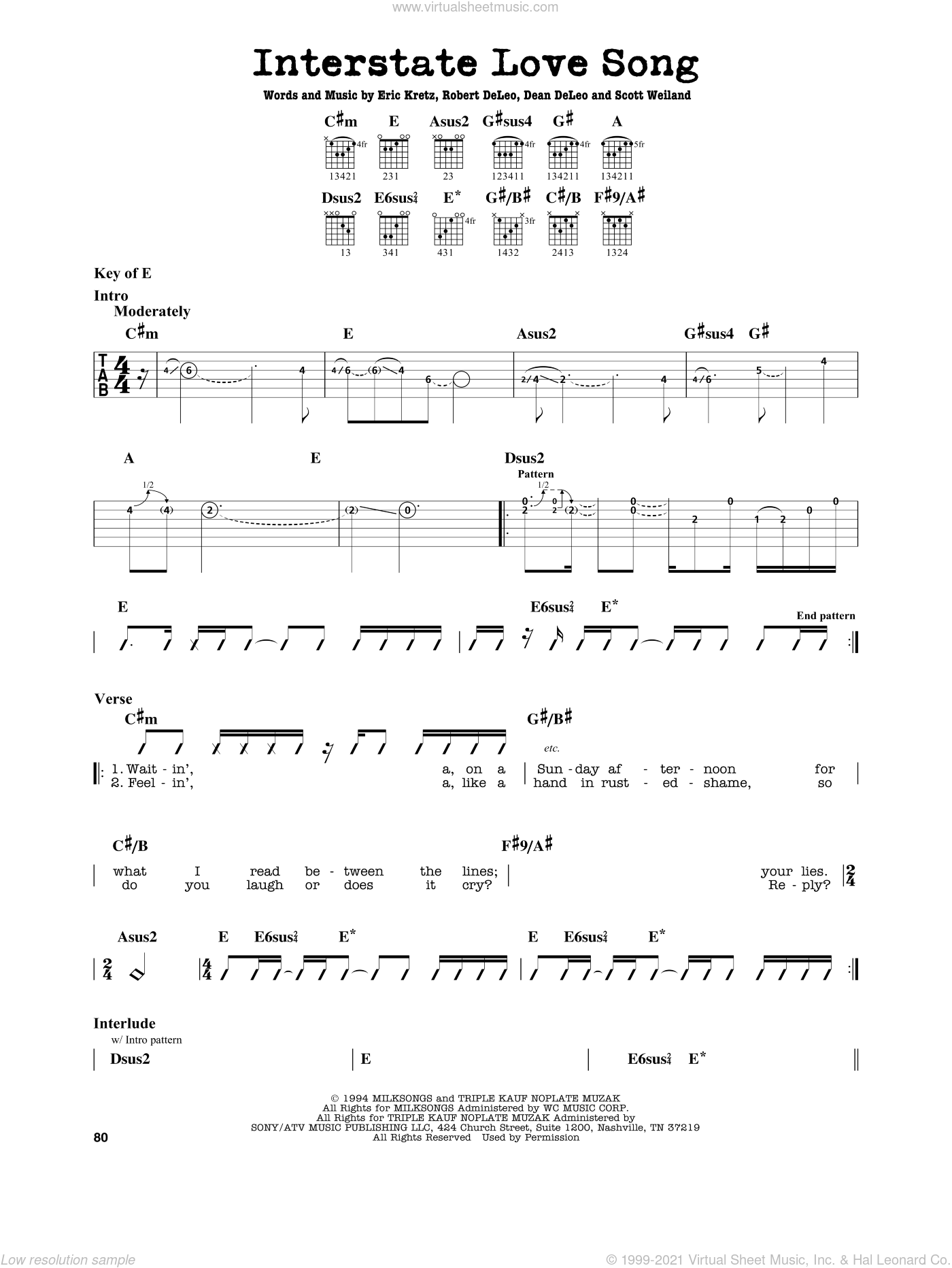 Interstate Love Song sheet music for guitar solo (lead sheet) by Stone Temple Pilots, Dean DeLeo, Eric Kretz, Robert DeLeo and Scott Weiland, intermediate guitar (lead sheet)