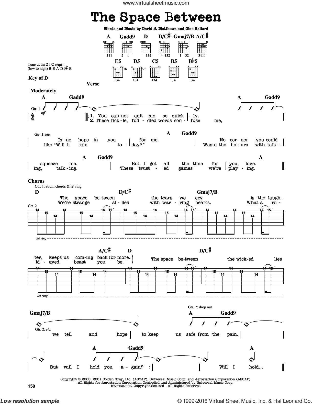 The Space Between sheet music for guitar solo (lead sheet) by Dave Matthews Band and Glen Ballard, intermediate guitar (lead sheet). Score Image Preview.