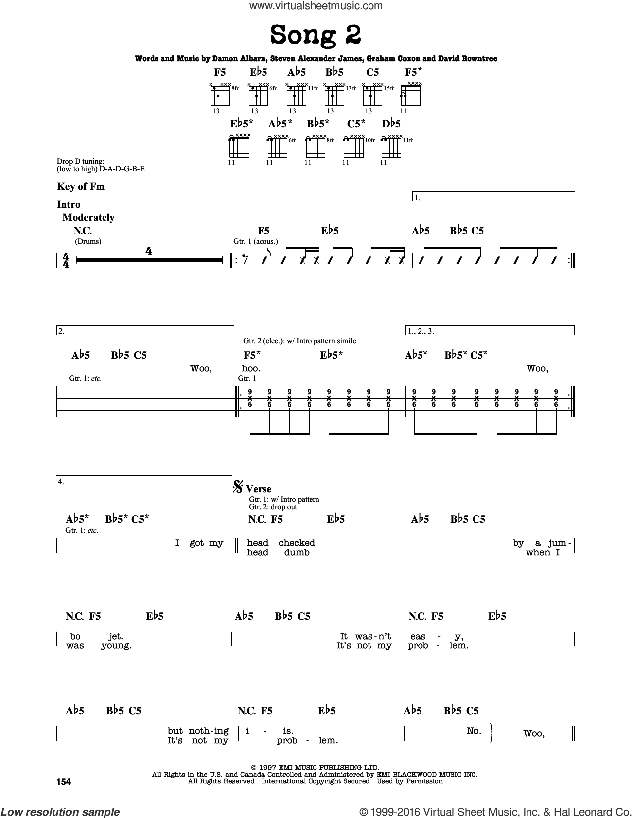 Song 2 sheet music for guitar solo (lead sheet) by Blur, Damon Albarn, David Rowntree, Graham Coxon and Steven Alexander James, intermediate guitar (lead sheet). Score Image Preview.