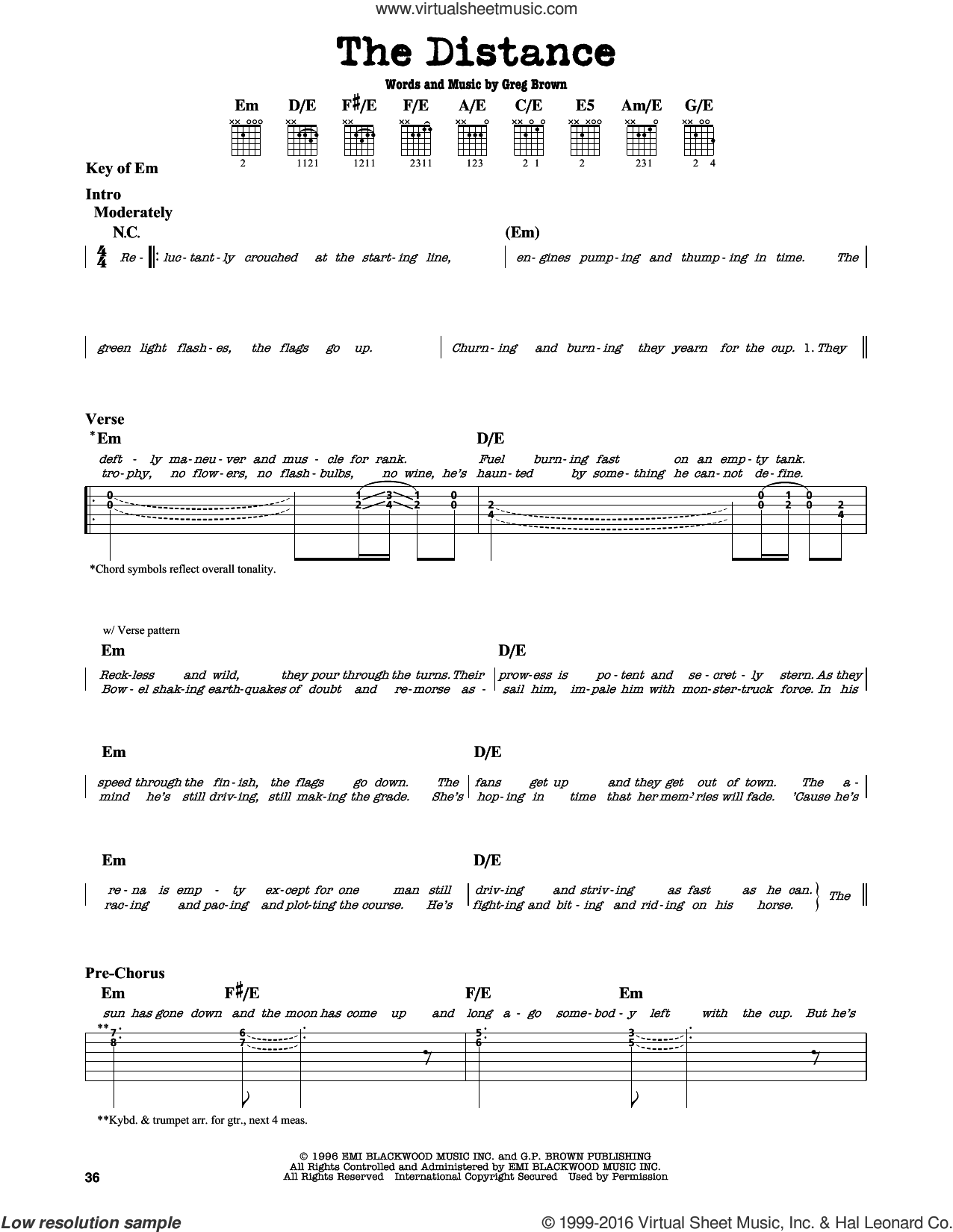 The Distance sheet music for guitar solo (lead sheet) by Cake and Greg Brown, intermediate guitar (lead sheet)