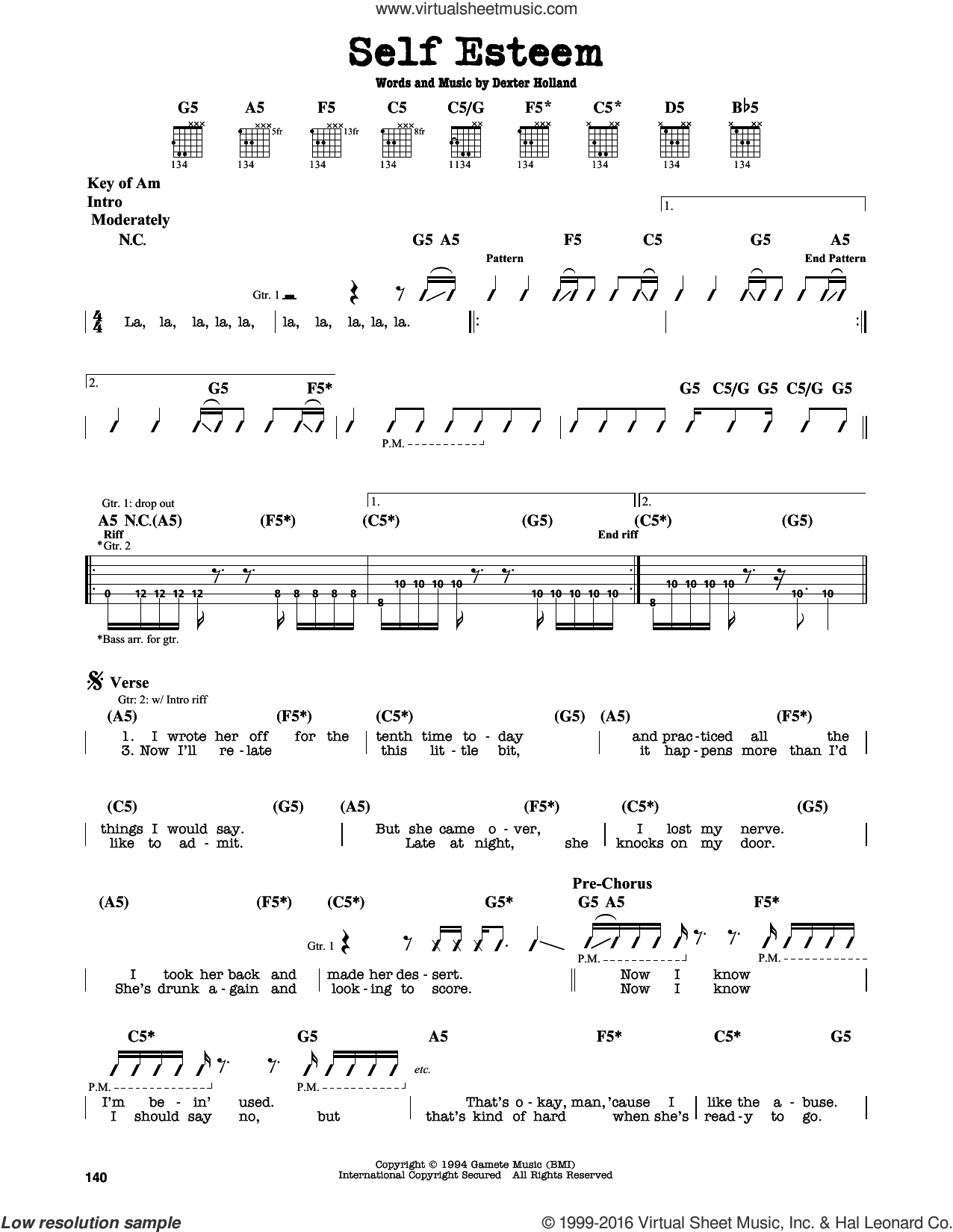 Self Esteem sheet music for guitar solo (lead sheet) by The Offspring, intermediate guitar (lead sheet). Score Image Preview.