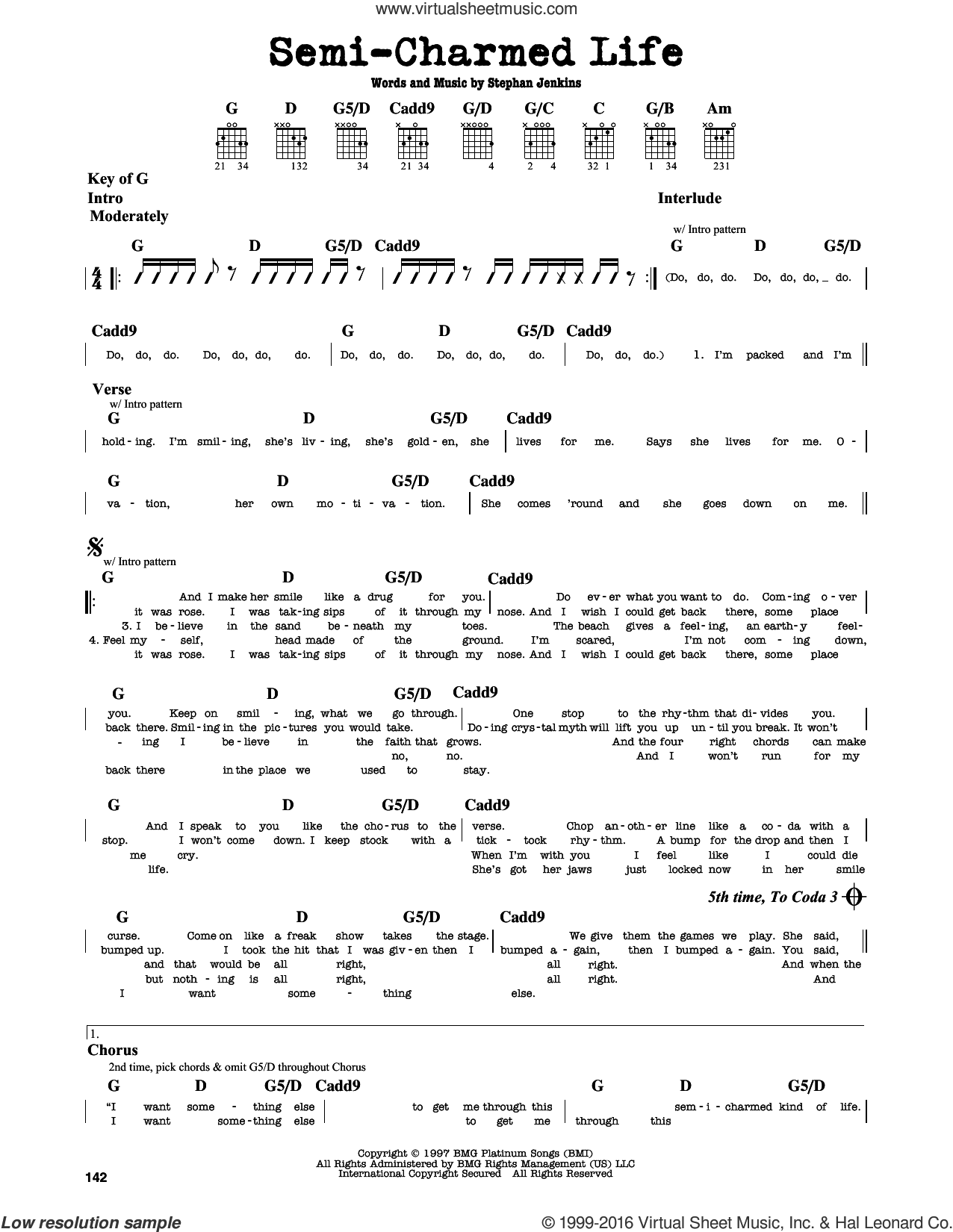 Semi-Charmed Life sheet music for guitar solo (lead sheet) by Stephan Jenkins and Third Eye Blind. Score Image Preview.