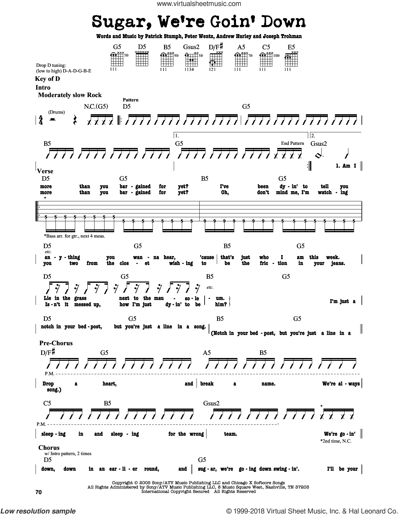Sugar, We're Goin' Down sheet music for guitar solo (lead sheet) by Fall Out Boy, Andrew Hurley, Joseph Trohman, Patrick Stumph and Peter Wentz, intermediate guitar (lead sheet)