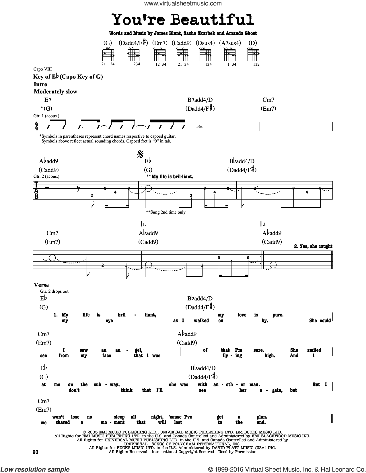 You're Beautiful sheet music for guitar solo (lead sheet) by James Blunt, wedding score, intermediate guitar (lead sheet). Score Image Preview.