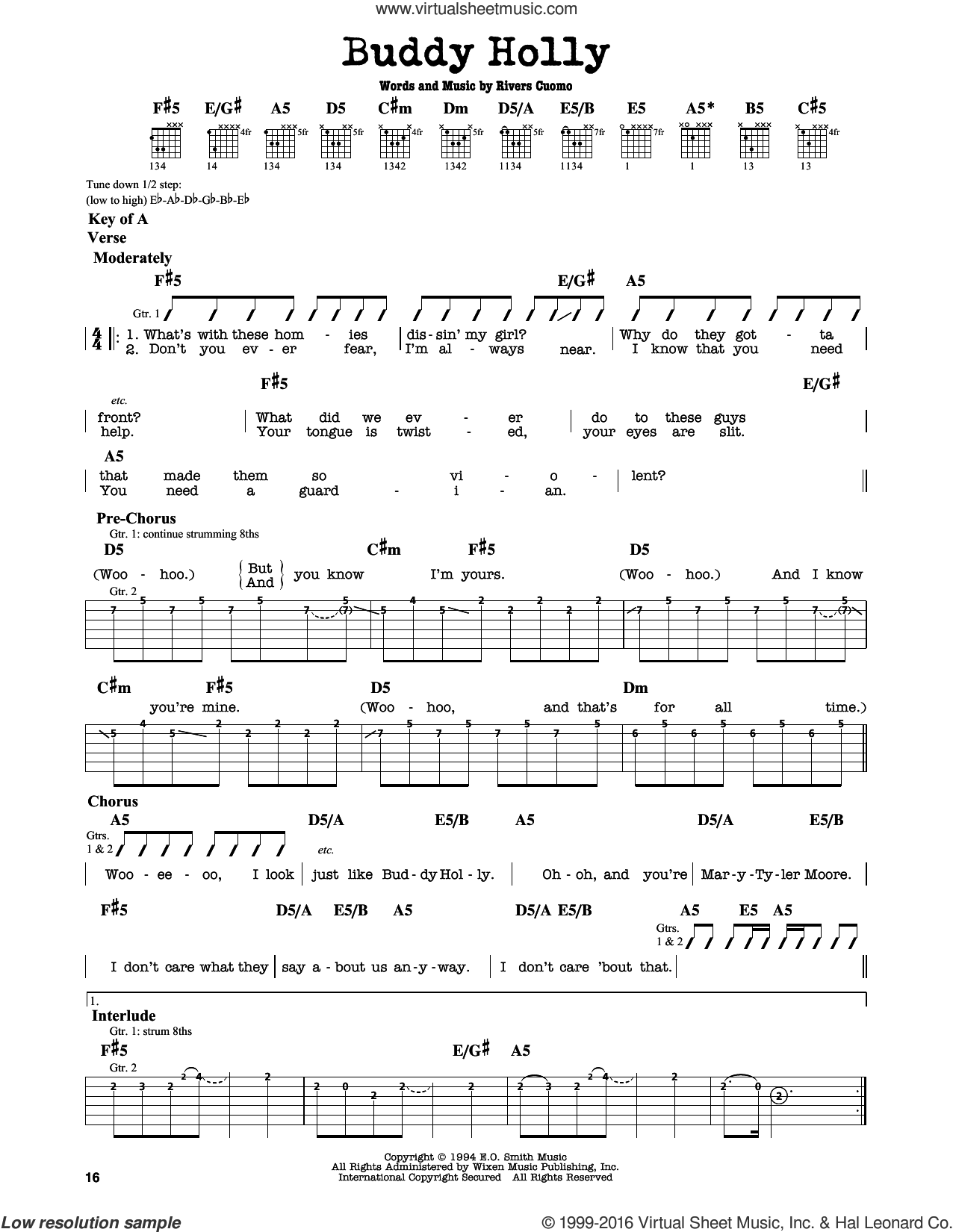 Buddy Holly sheet music for guitar solo (lead sheet) by Rivers Cuomo and Weezer. Score Image Preview.