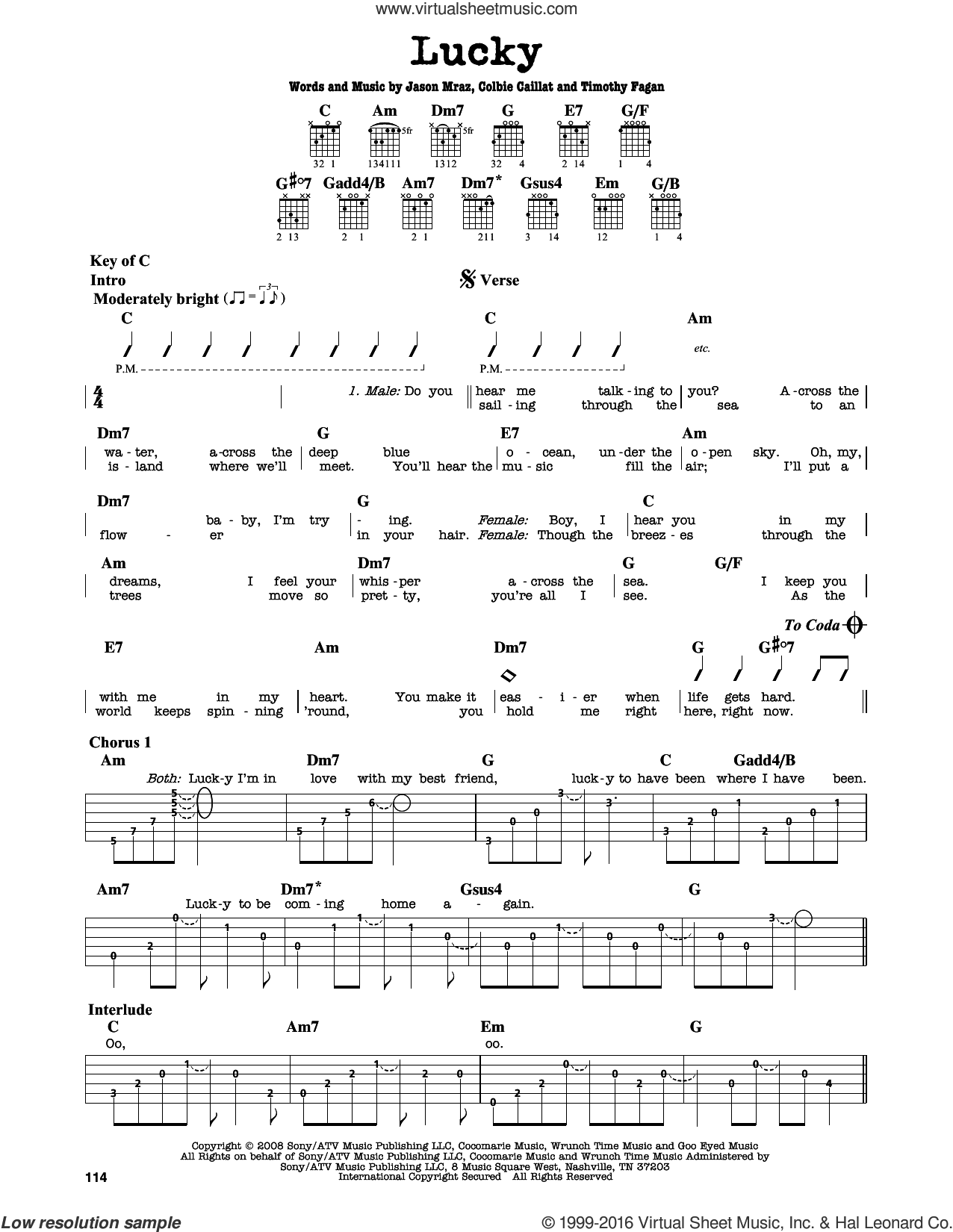 Lucky sheet music for guitar solo (lead sheet) by Jason Mraz & Colbie Caillat, Colbie Caillat, Jason Mraz and Timothy Fagan, intermediate guitar (lead sheet)