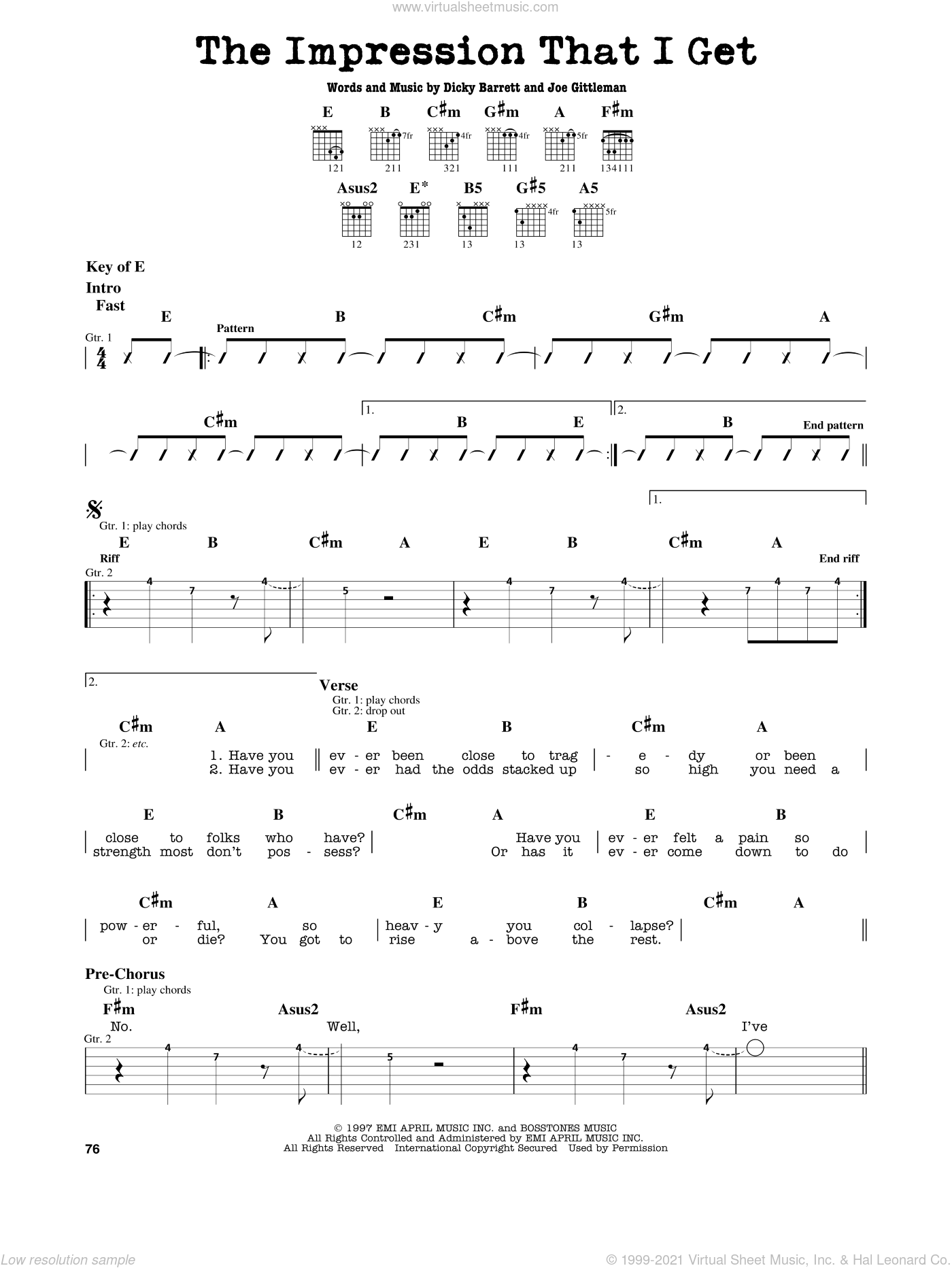 The Impression That I Get sheet music for guitar solo (lead sheet) by The Mighty Mighty Bosstones, Dicky Barrett and Joe Gittleman, intermediate guitar (lead sheet)