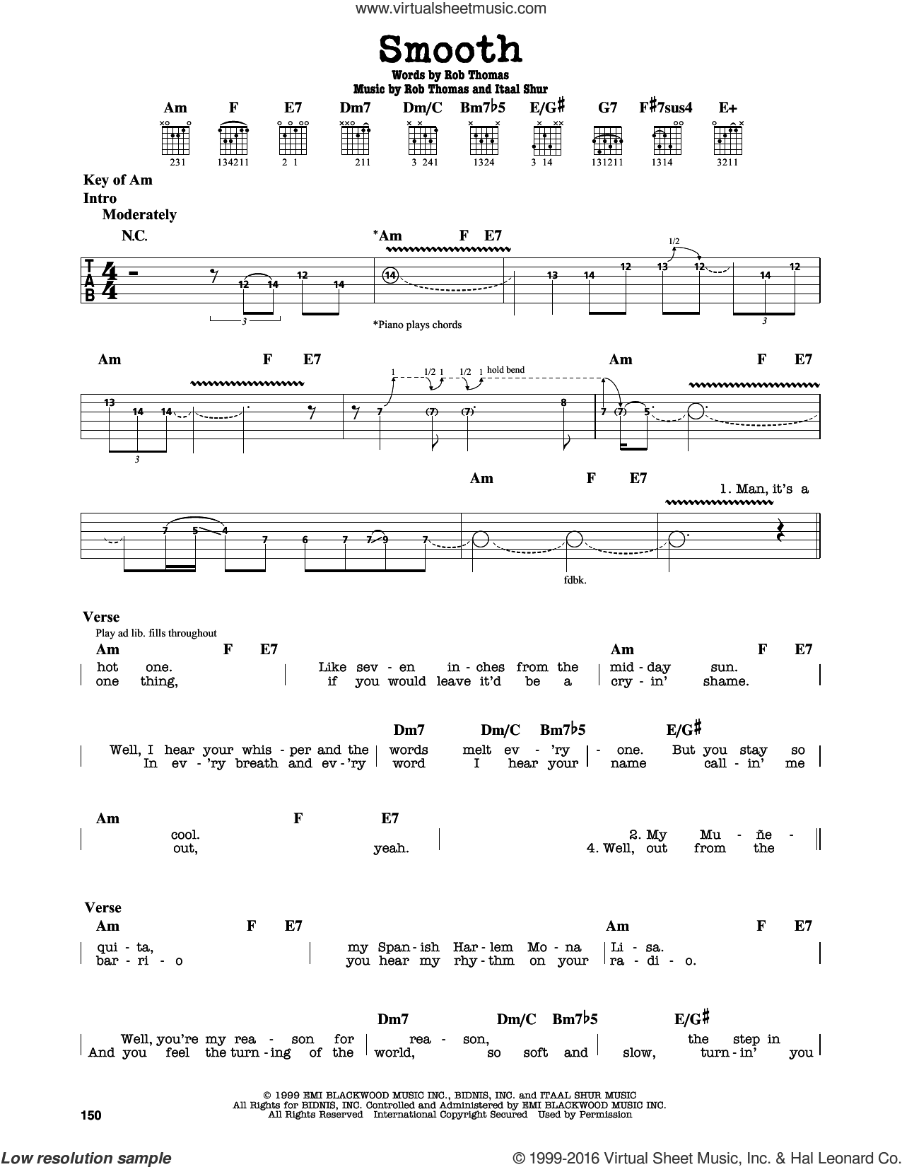 Smooth sheet music for guitar solo (lead sheet) by Rob Thomas, Santana featuring Rob Thomas and Itaal Shur. Score Image Preview.