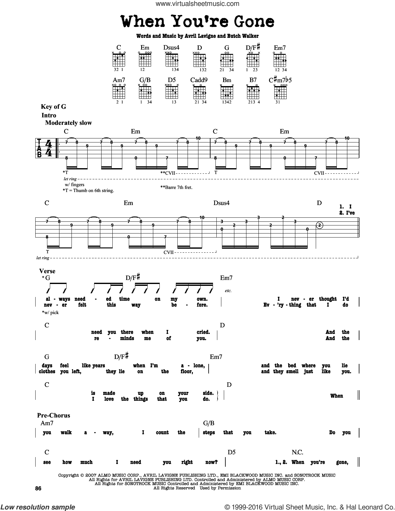 When You're Gone sheet music for guitar solo (lead sheet) by Butch Walker and Avril Lavigne. Score Image Preview.