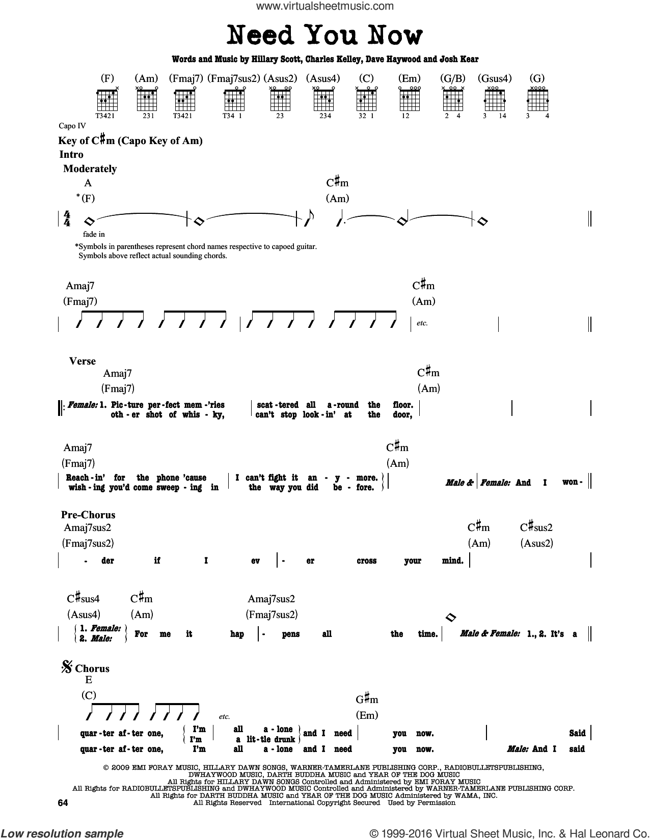 Need You Now sheet music for guitar solo (lead sheet) by Josh Kear, Lady Antebellum, Charles Kelley, Dave Haywood and Hillary Scott. Score Image Preview.
