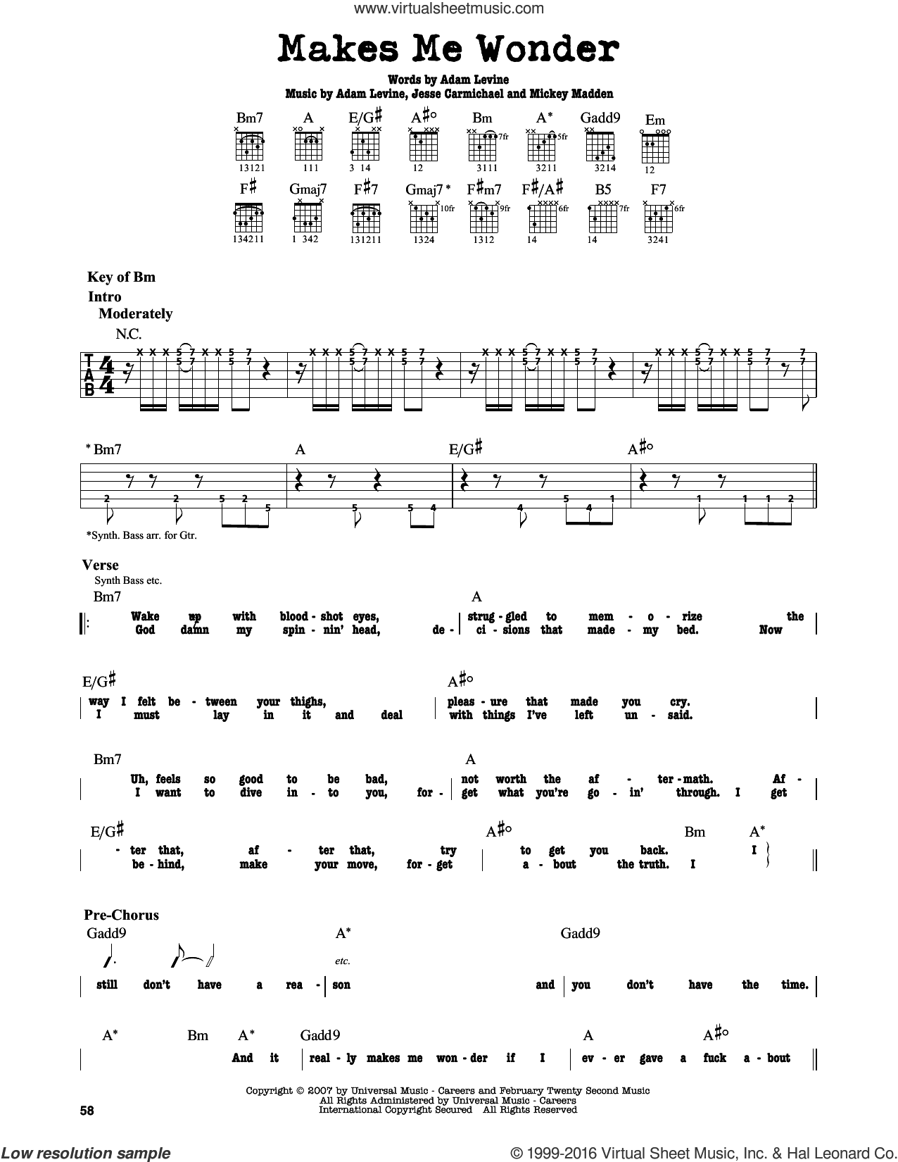 Makes Me Wonder sheet music for guitar solo (lead sheet) by Maroon 5, Adam Levine, Jesse Carmichael and Michael Madden, intermediate guitar (lead sheet). Score Image Preview.
