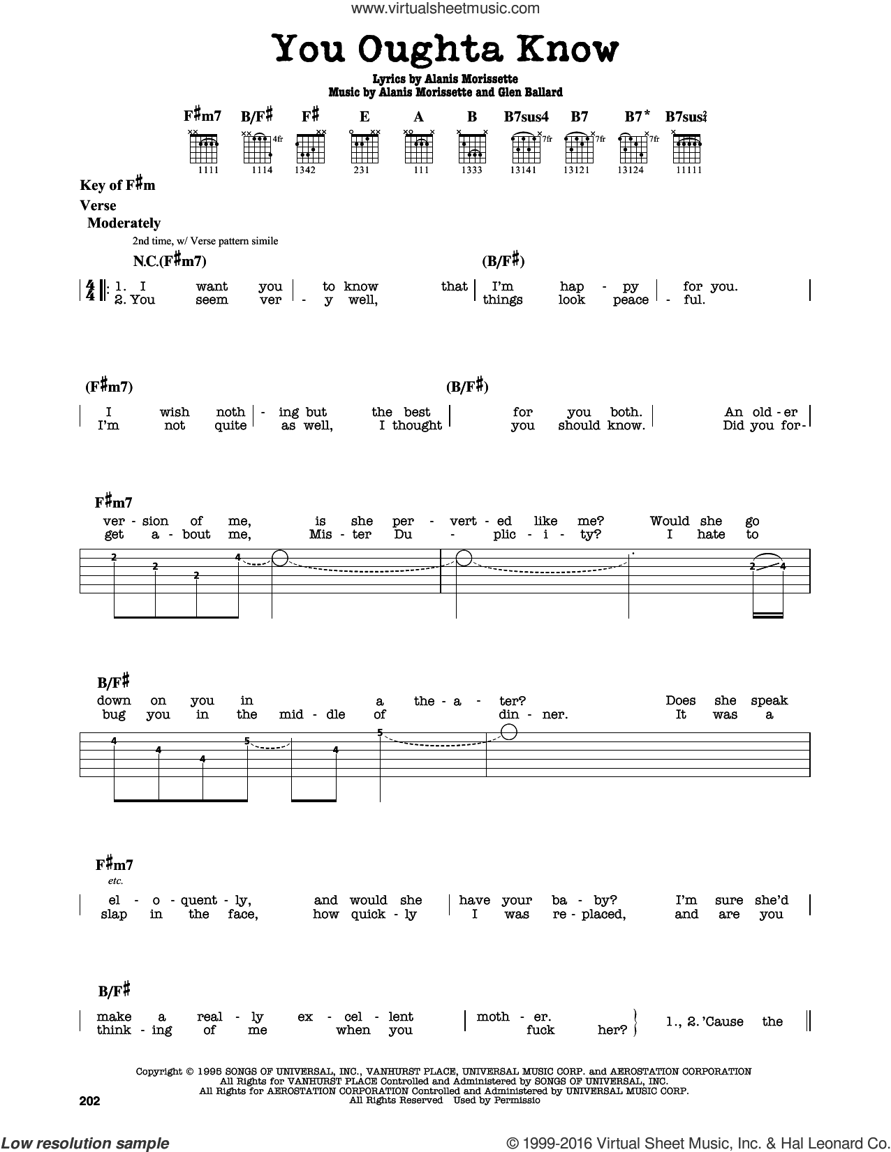 You Oughta Know sheet music for guitar solo (lead sheet) by Glen Ballard and Alanis Morissette. Score Image Preview.