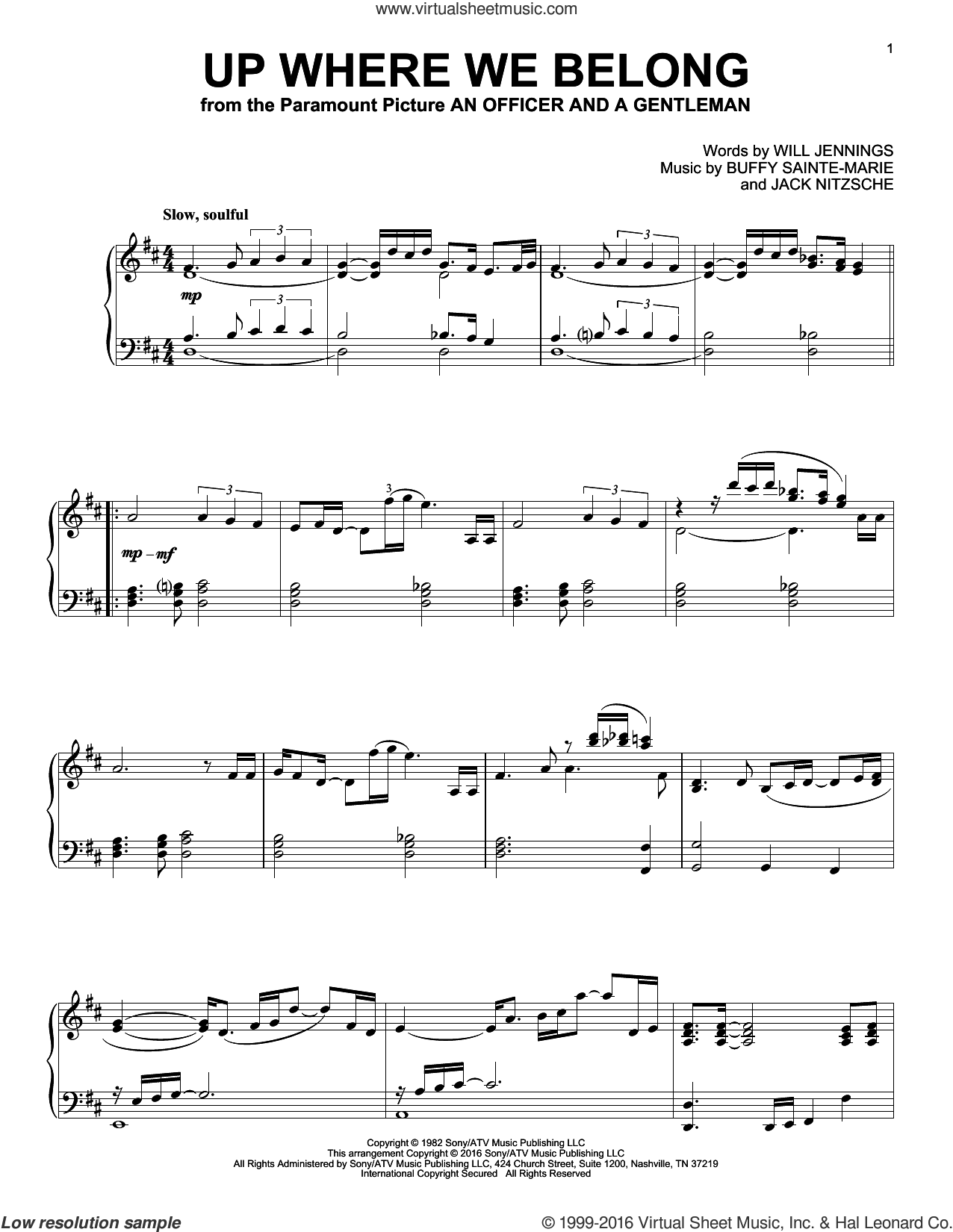 Up Where We Belong sheet music for piano solo by Joe Cocker & Jennifer Warnes, BeBe and CeCe Winans, Buffy Sainte-Marie, Jack Nitzche and Will Jennings, intermediate skill level