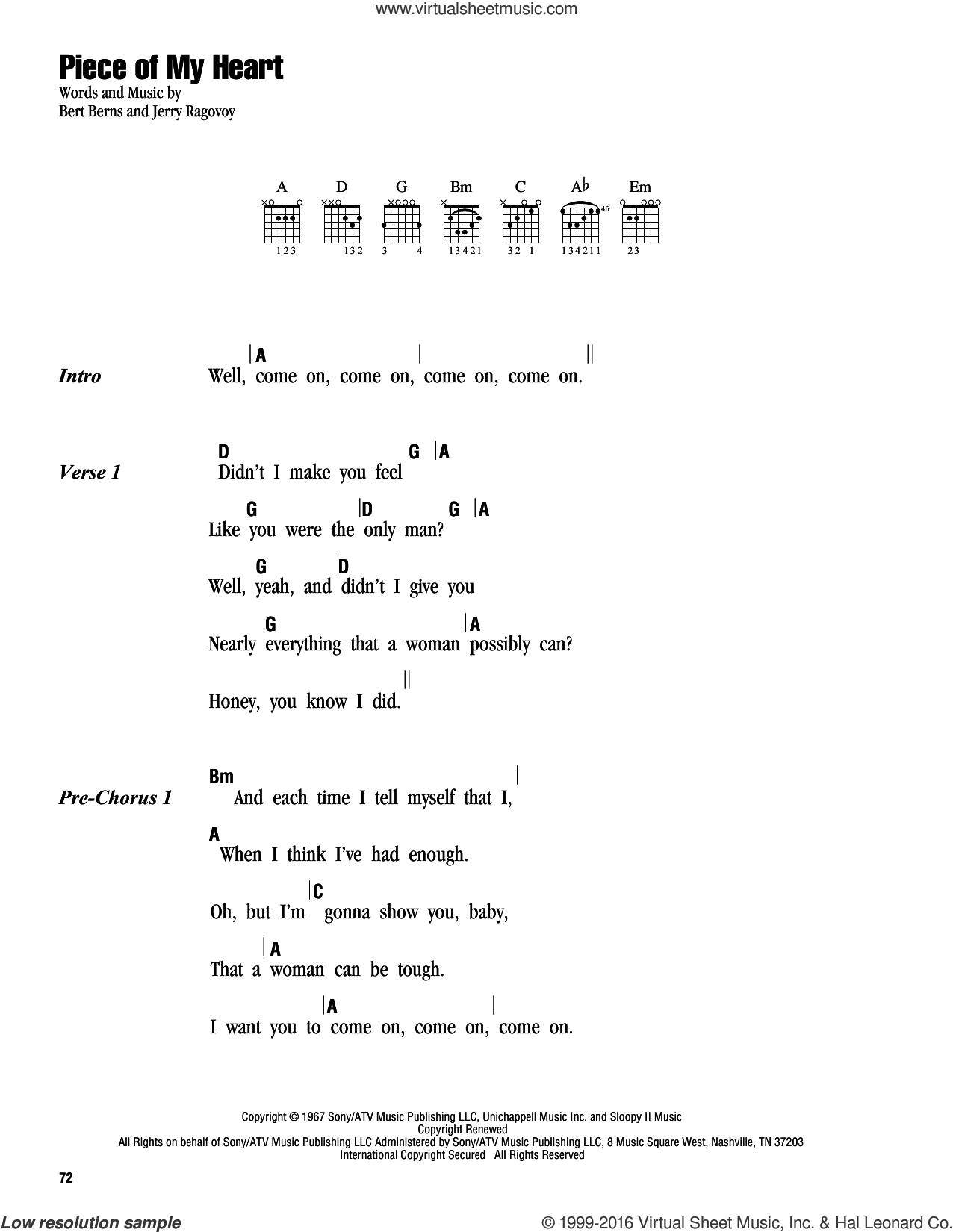 Piece Of My Heart sheet music for guitar (chords) by Janis Joplin, Faith Hill, Bert Berns and Jerry Ragovoy, intermediate