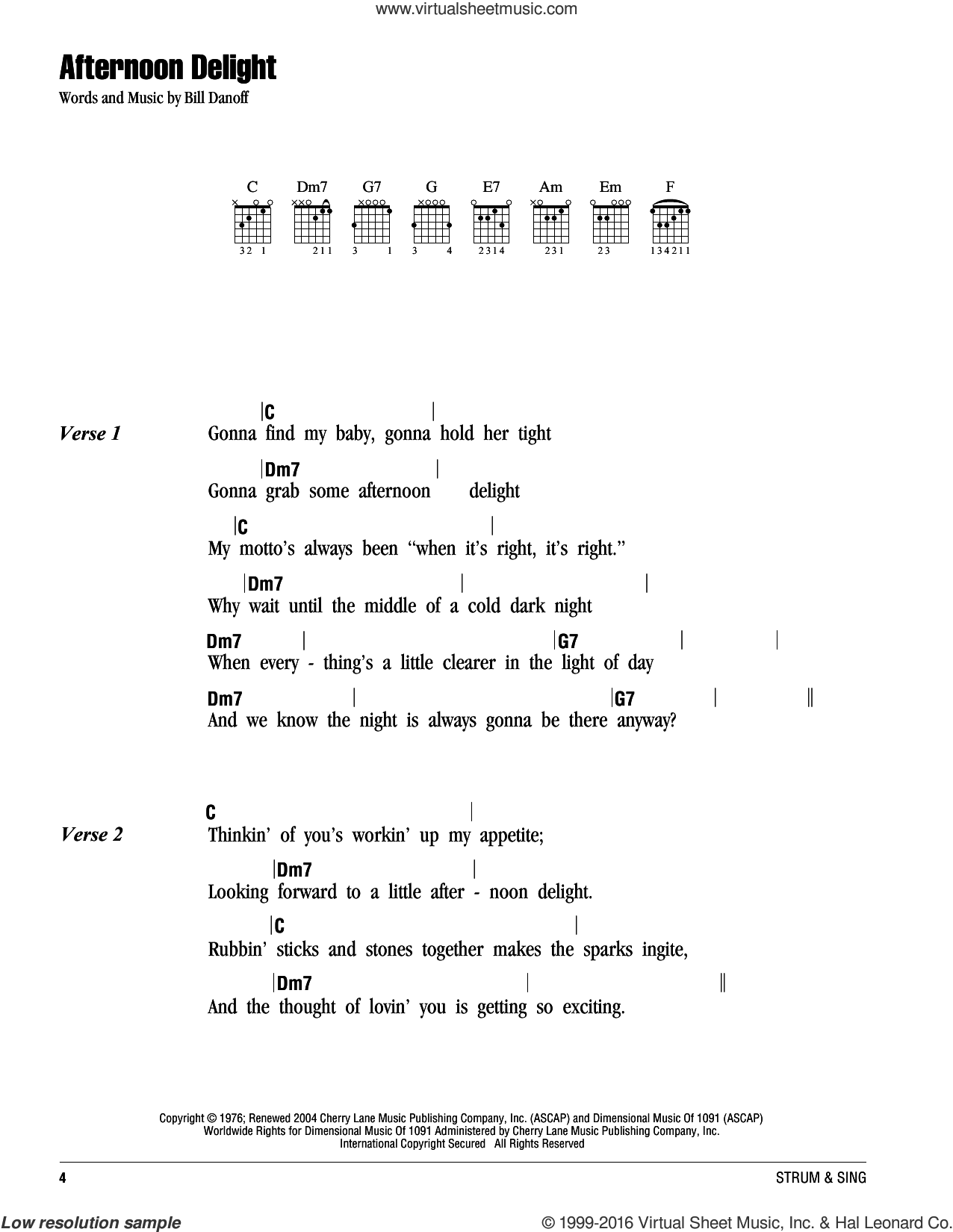 Afternoon Delight sheet music for guitar (chords) by Starland Vocal Band and Bill Danoff, intermediate skill level