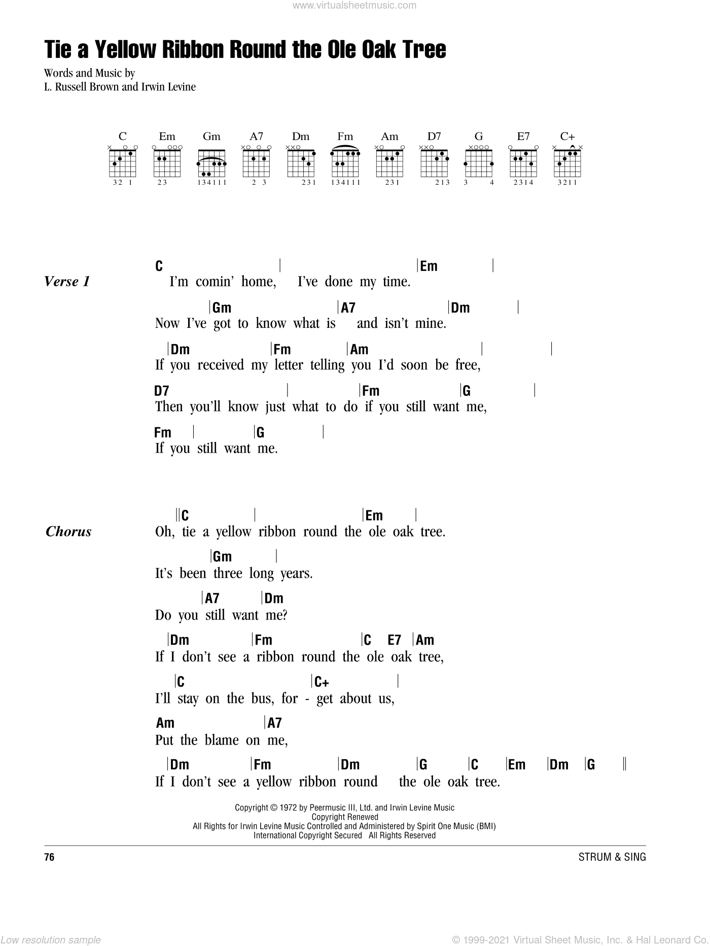 Tie A Yellow Ribbon Round The Ole Oak Tree sheet music for guitar (chords) by L. Russell Brown and Irwin Levine. Score Image Preview.