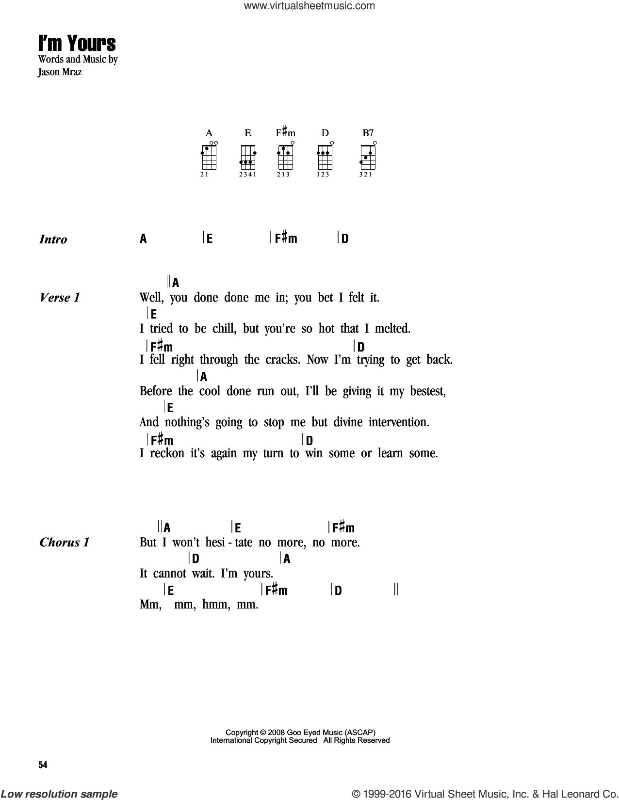 Mraz   I'm Yours sheet music for ukulele chords v15