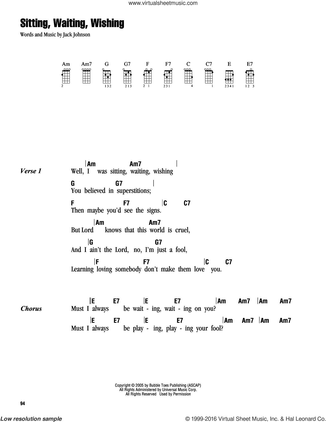 Sitting, Waiting, Wishing sheet music for ukulele (chords) by Jack Johnson, intermediate skill level