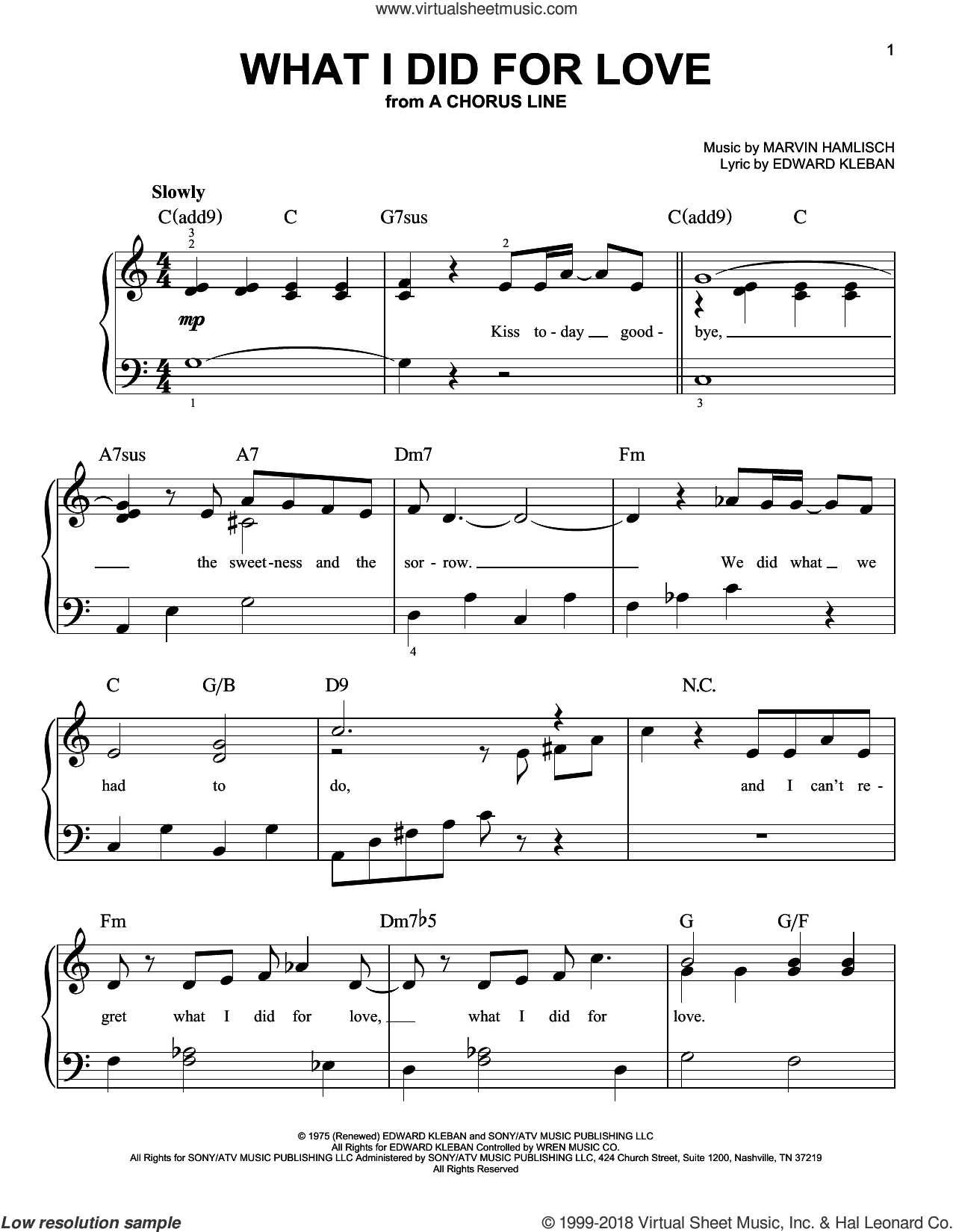What I Did For Love, (beginner) sheet music for piano solo by Marvin Hamlisch and Edward Kleban, beginner skill level
