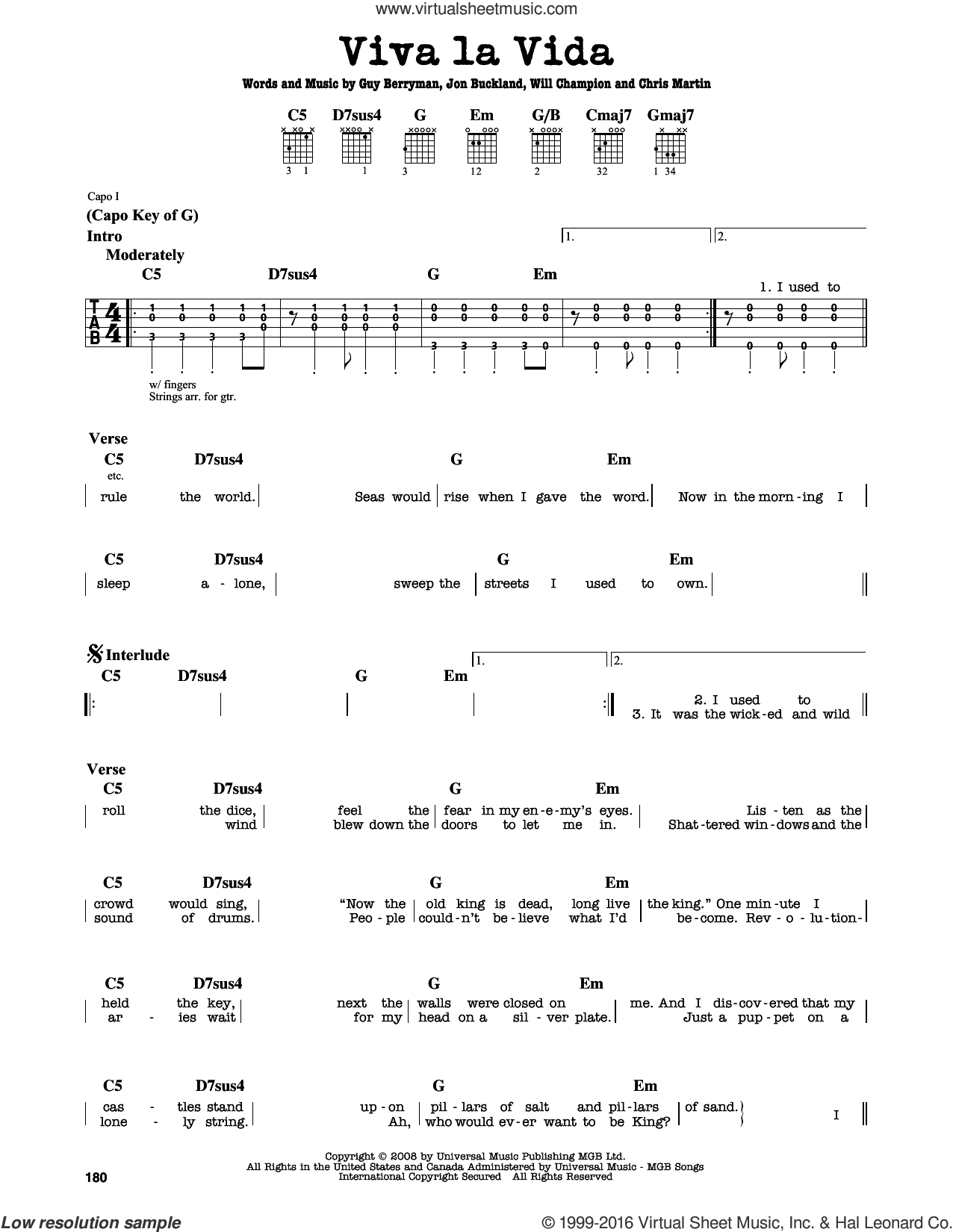 Viva La Vida sheet music for guitar solo (lead sheet) by Coldplay, Chris Martin, Guy Berryman, Jon Buckland and Will Champion, intermediate guitar (lead sheet)