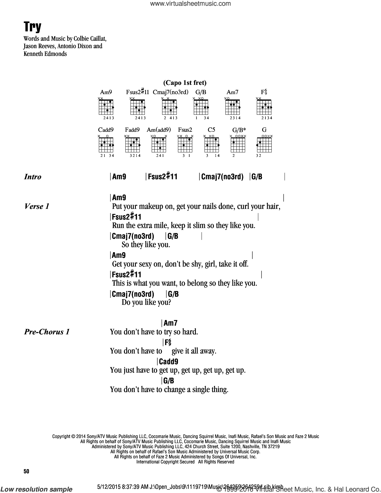 Try sheet music for guitar (chords) by Colbie Caillat and Jason Reeves, intermediate. Score Image Preview.