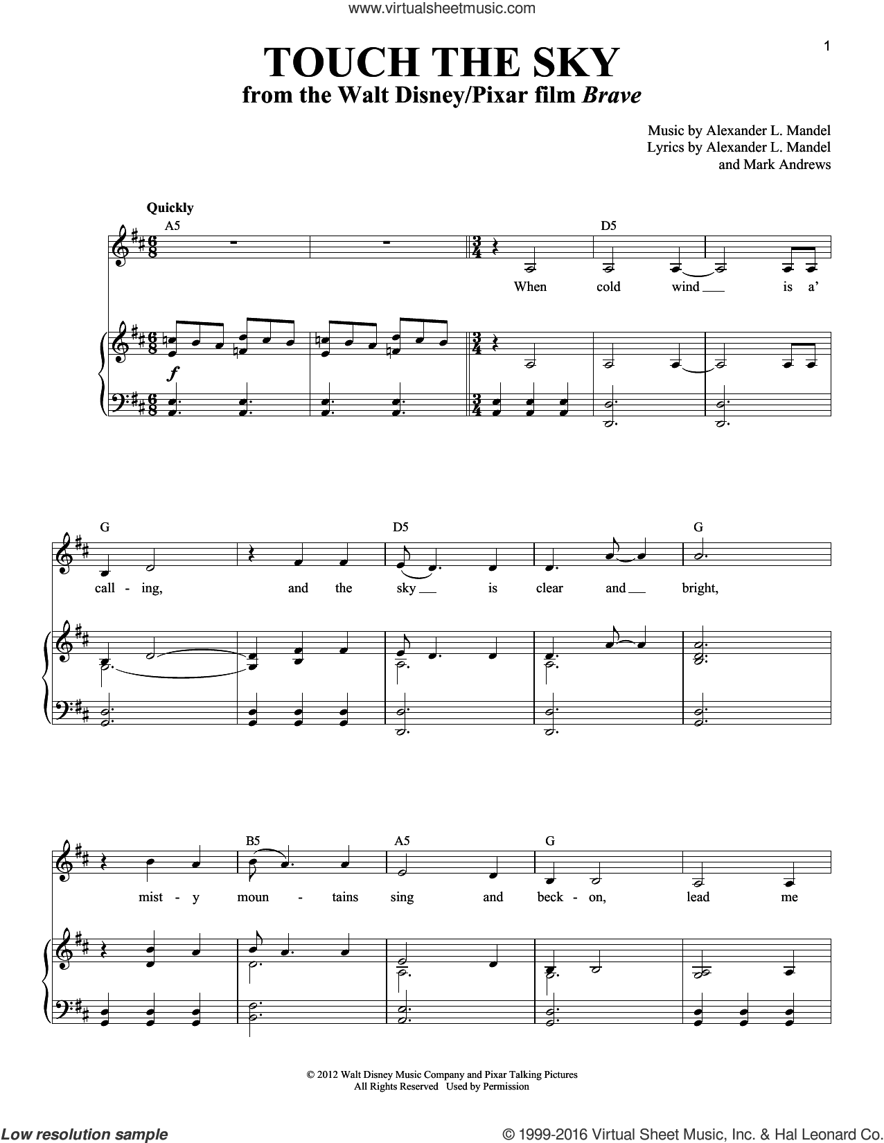 Touch The Sky sheet music for voice and piano by Alexander L. Mandel, Julie Fowlis and Mark Andrews, intermediate voice. Score Image Preview.