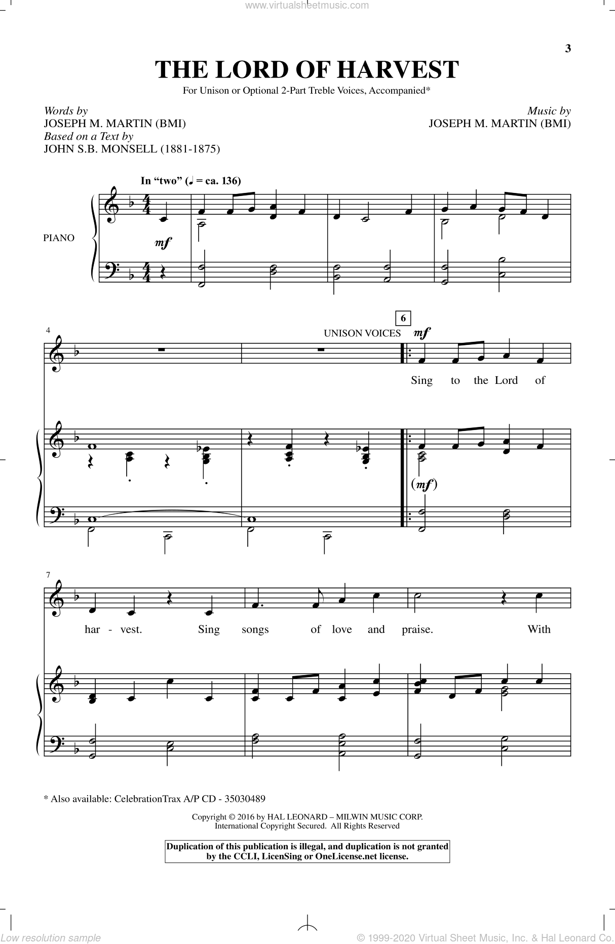 The Lord Of Harvest sheet music for choir and piano by Joseph M. Martin. Score Image Preview.