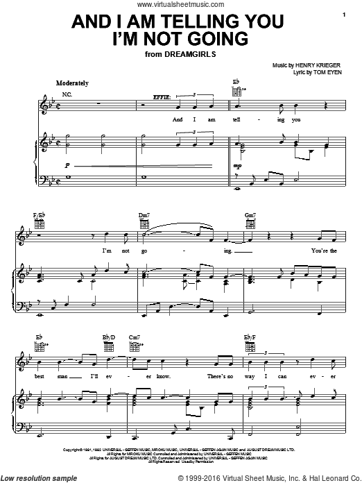And I Am Telling You I'm Not Going (COMPLETE) sheet music for voice, piano or guitar by Tom Eyen, Jennifer Holliday, Jennifer Hudson and Miscellaneous. Score Image Preview.