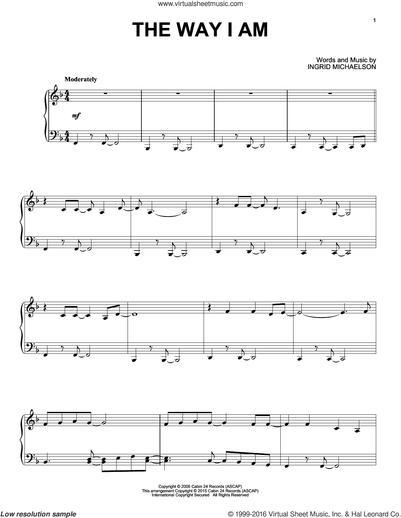 The Way I Am sheet music for piano solo by Ingrid Michaelson. Score Image Preview.