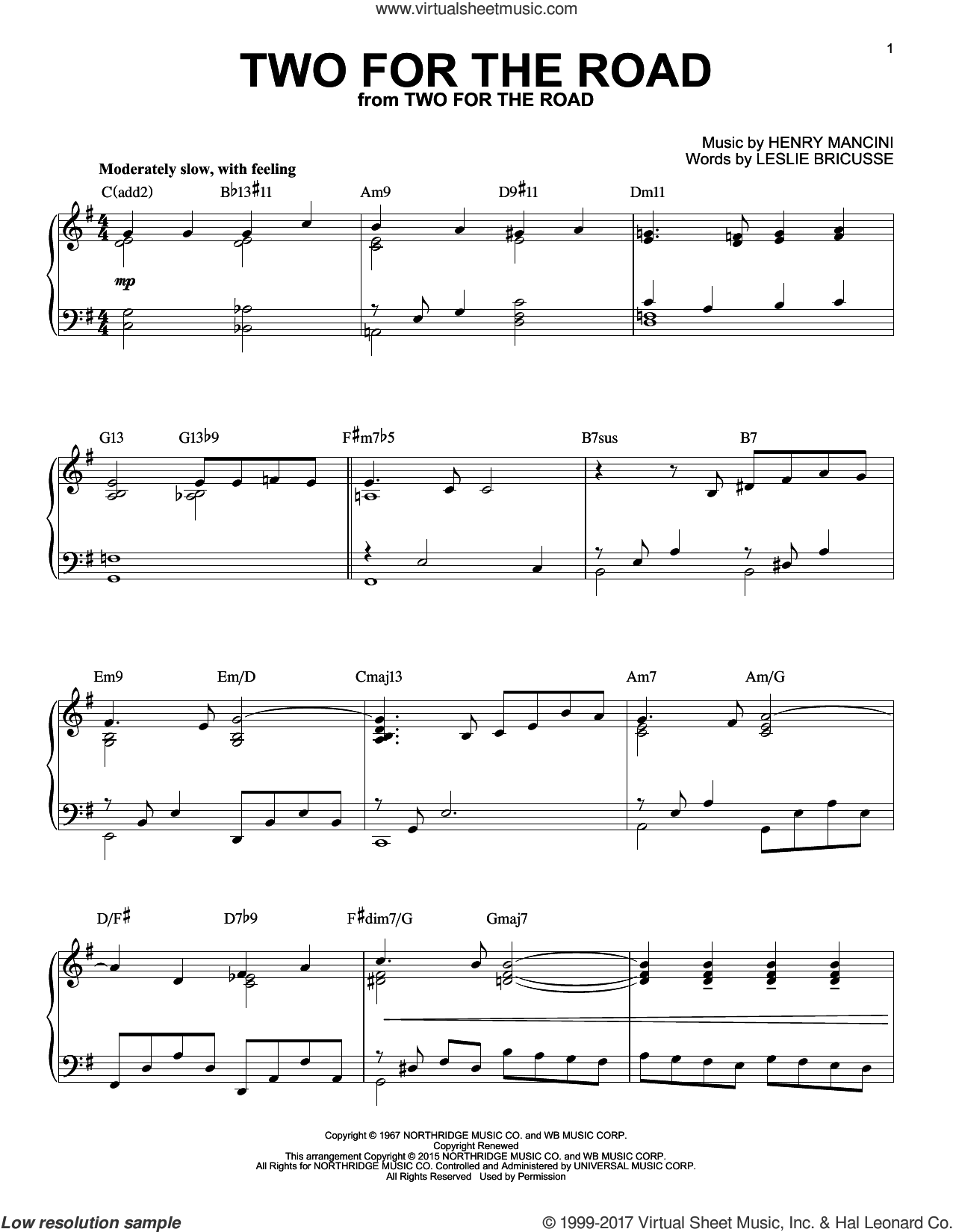 Two For The Road [Jazz version] (arr. Brent Edstrom) sheet music for piano solo by Henry Mancini and Leslie Bricusse, intermediate skill level