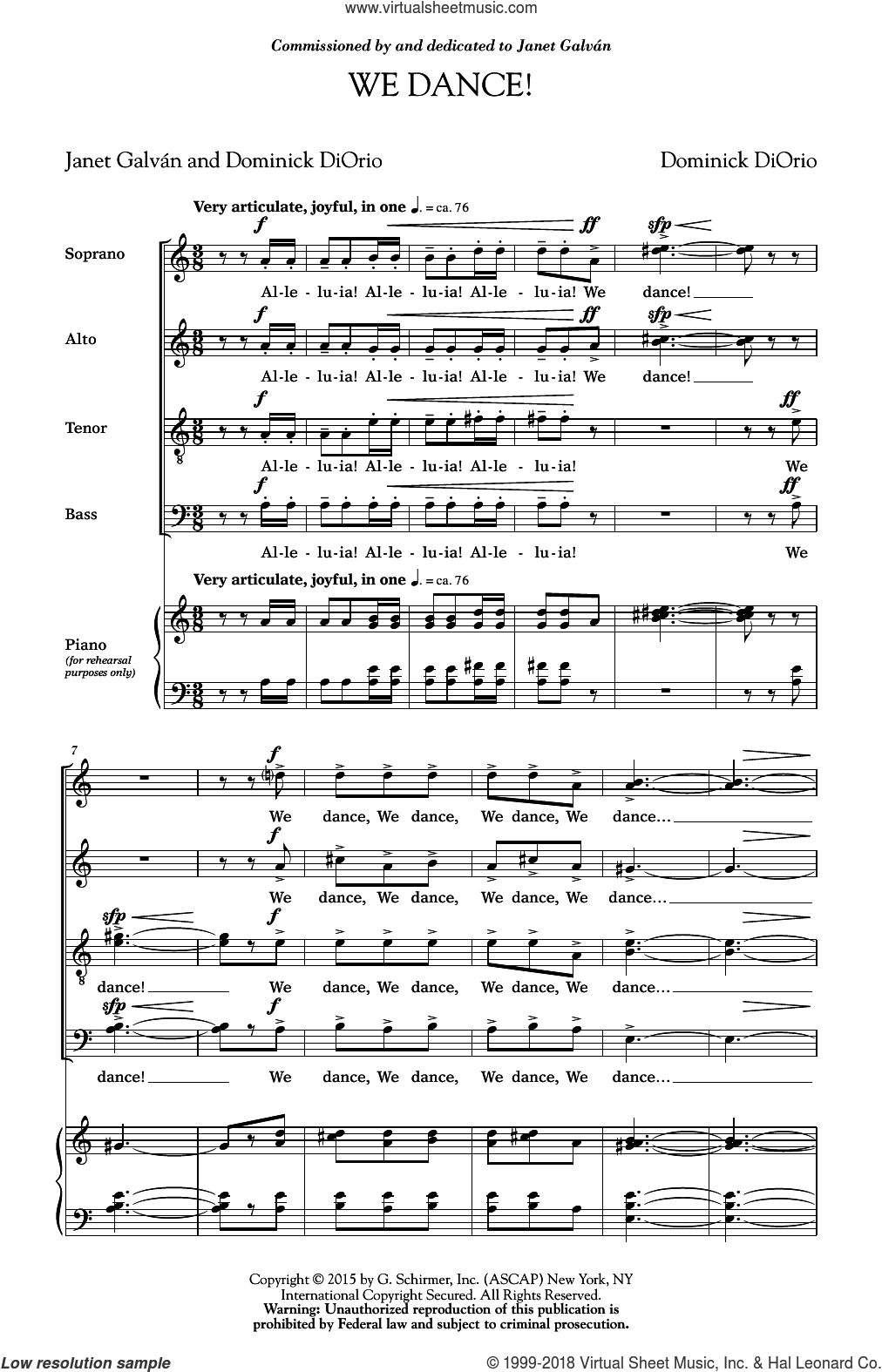 We Dance sheet music for choir and piano (SATB) by Janet Galvan and Dominick Diorio. Score Image Preview.
