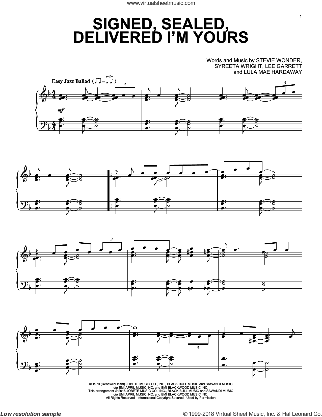 Signed, Sealed, Delivered I'm Yours sheet music for piano solo by Stevie Wonder, Lee Garrett, Lula Mae Hardaway and Syreeta Wright, intermediate skill level