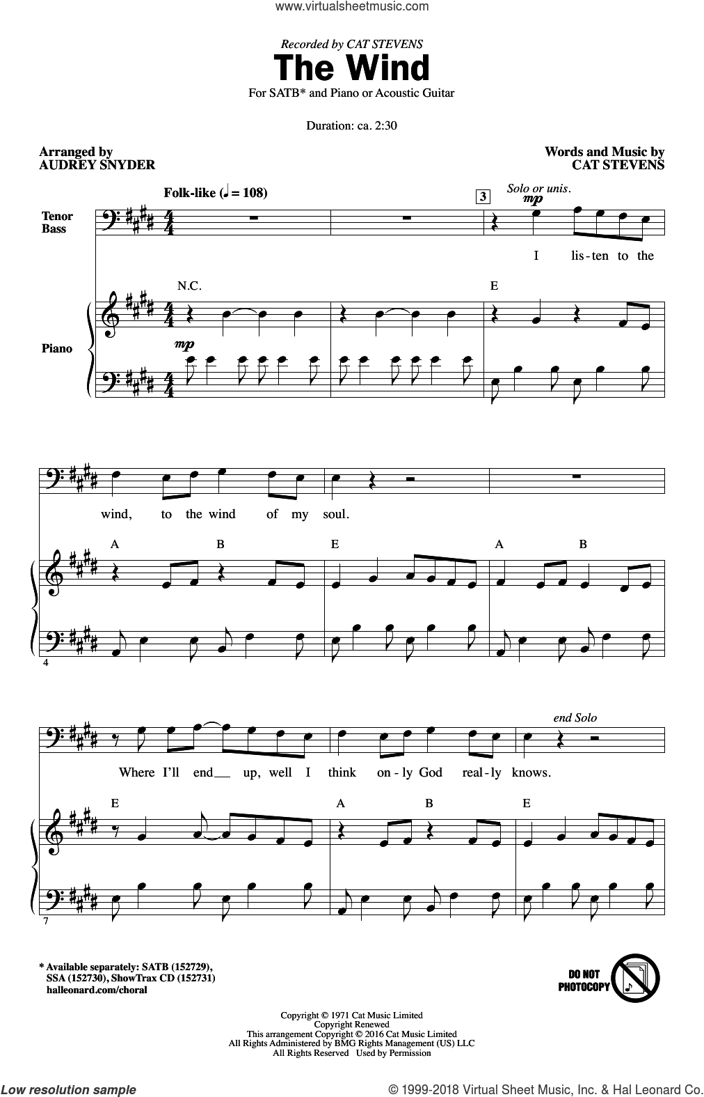 The Wind sheet music for choir (SATB: soprano, alto, tenor, bass) by Cat Stevens and Audrey Snyder, intermediate skill level