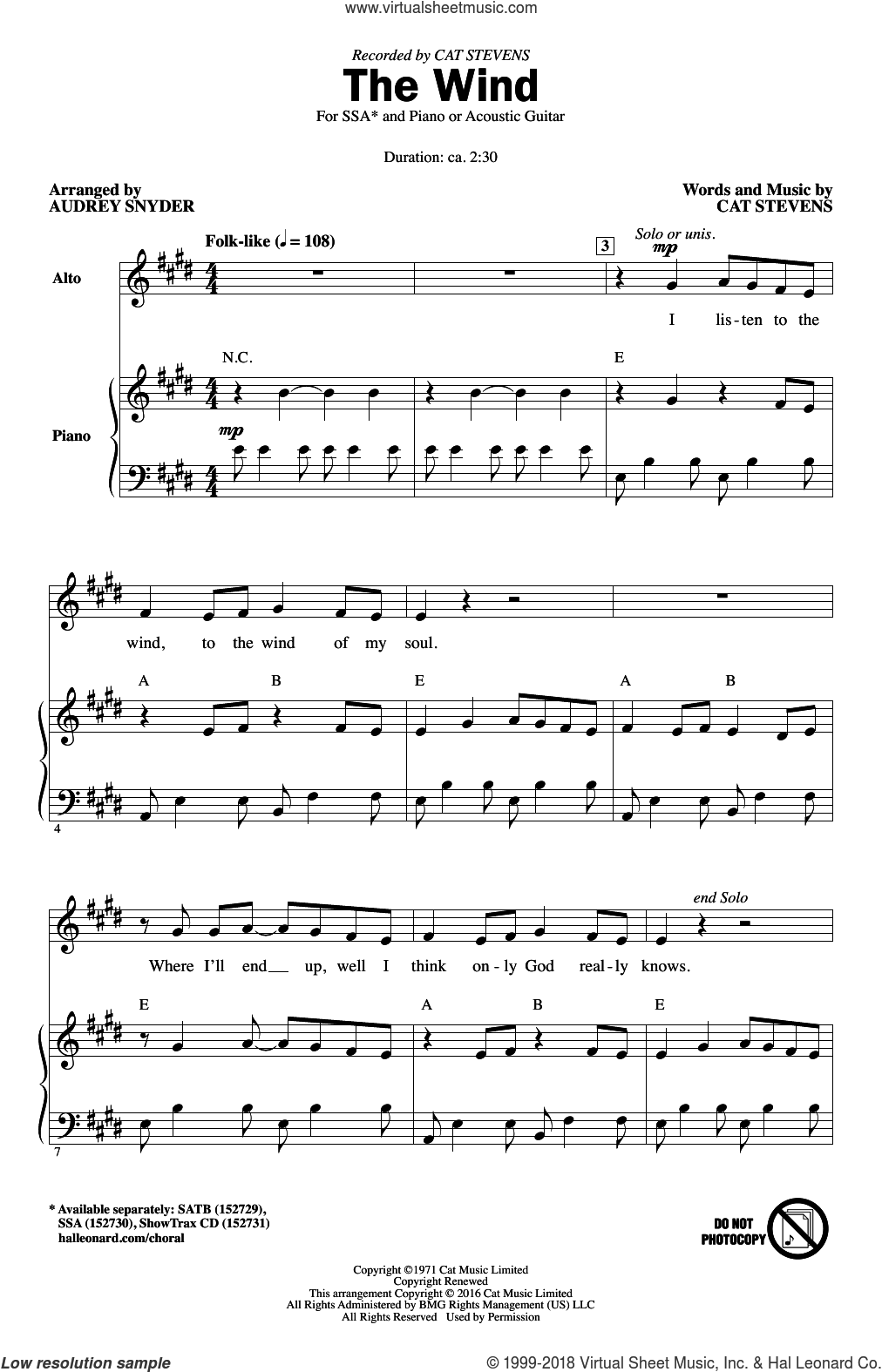 The Wind sheet music for choir and piano (SSA) by Audrey Snyder and Cat Stevens. Score Image Preview.