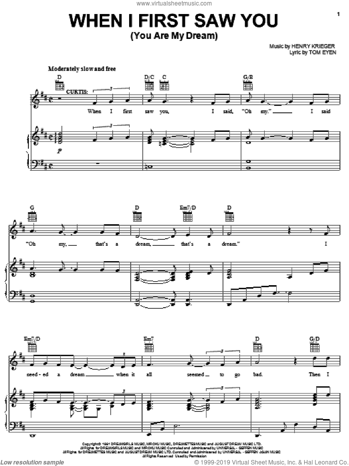 When I First Saw You sheet music for voice, piano or guitar by Henry Krieger and Tom Eyen. Score Image Preview.