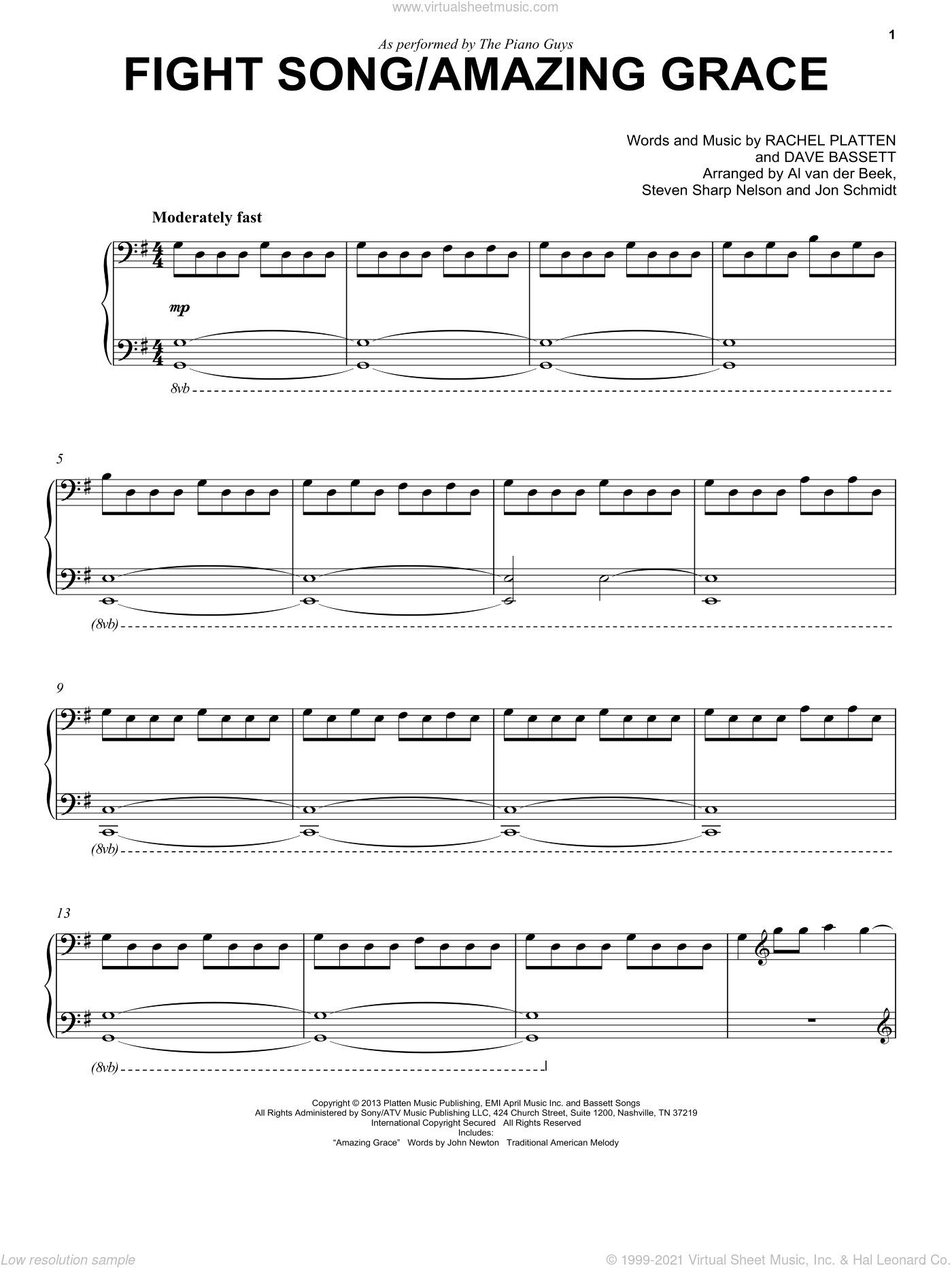 Fight Song sheet music for piano solo by Dave Bassett, The Piano Guys and Rachel Platten. Score Image Preview.