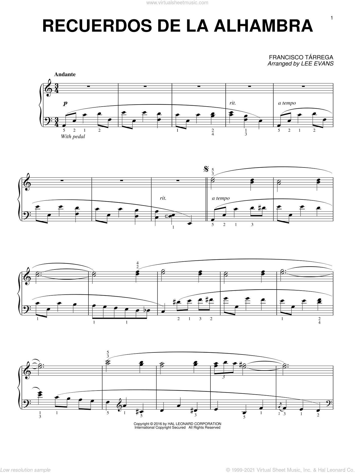 Recuerdos de la Alhambra sheet music for piano solo by Francisco Tarrega and Lee Evans, classical score, intermediate skill level