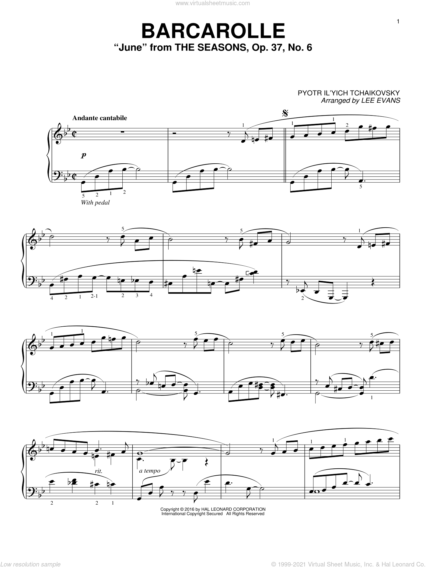 Barcarolle In G Minor ('June'), Op. 37, No. 6 sheet music for piano solo by Pyotr Ilyich Tchaikovsky and Lee Evans, classical score, intermediate skill level