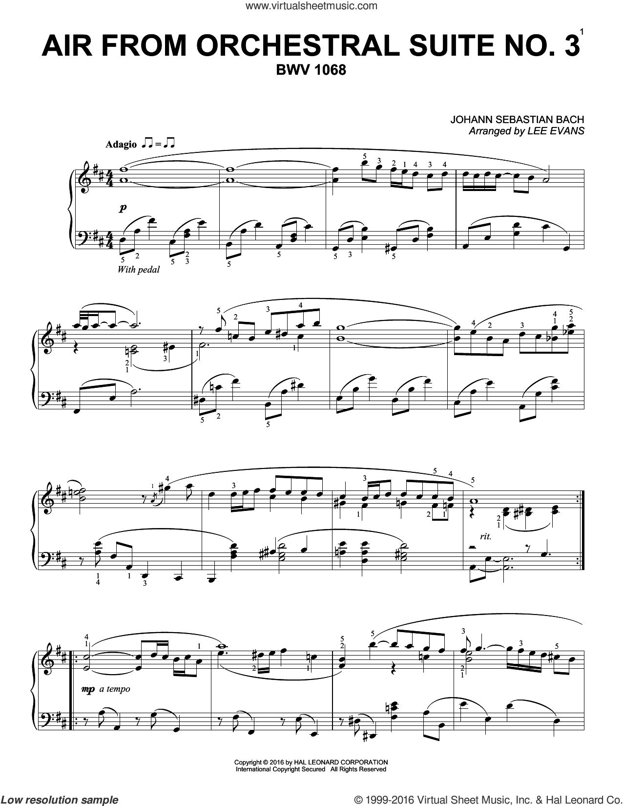 Air From Suite No. 3 In D sheet music for piano solo by Lee Evans and Johann Sebastian Bach. Score Image Preview.
