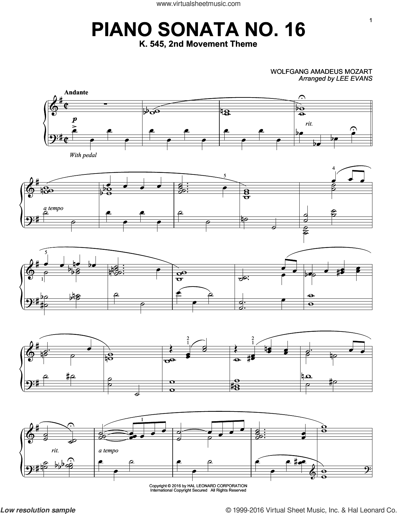 Piano Sonata In C Major, K.545, 2nd Movement sheet music for piano solo by Lee Evans and Wolfgang Amadeus Mozart. Score Image Preview.