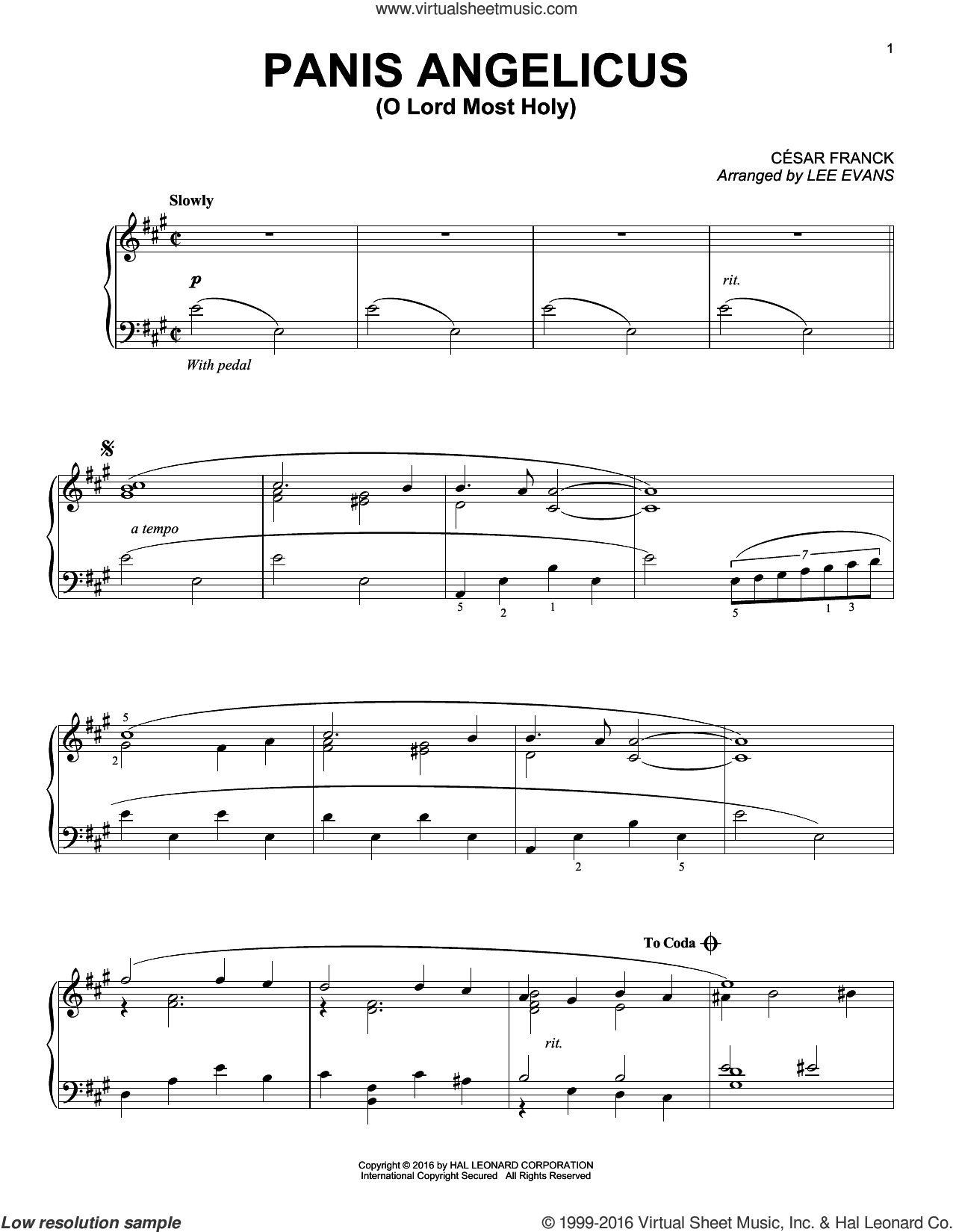 Panis Angelicus (O Lord Most Holy) sheet music for piano solo by Lee Evans