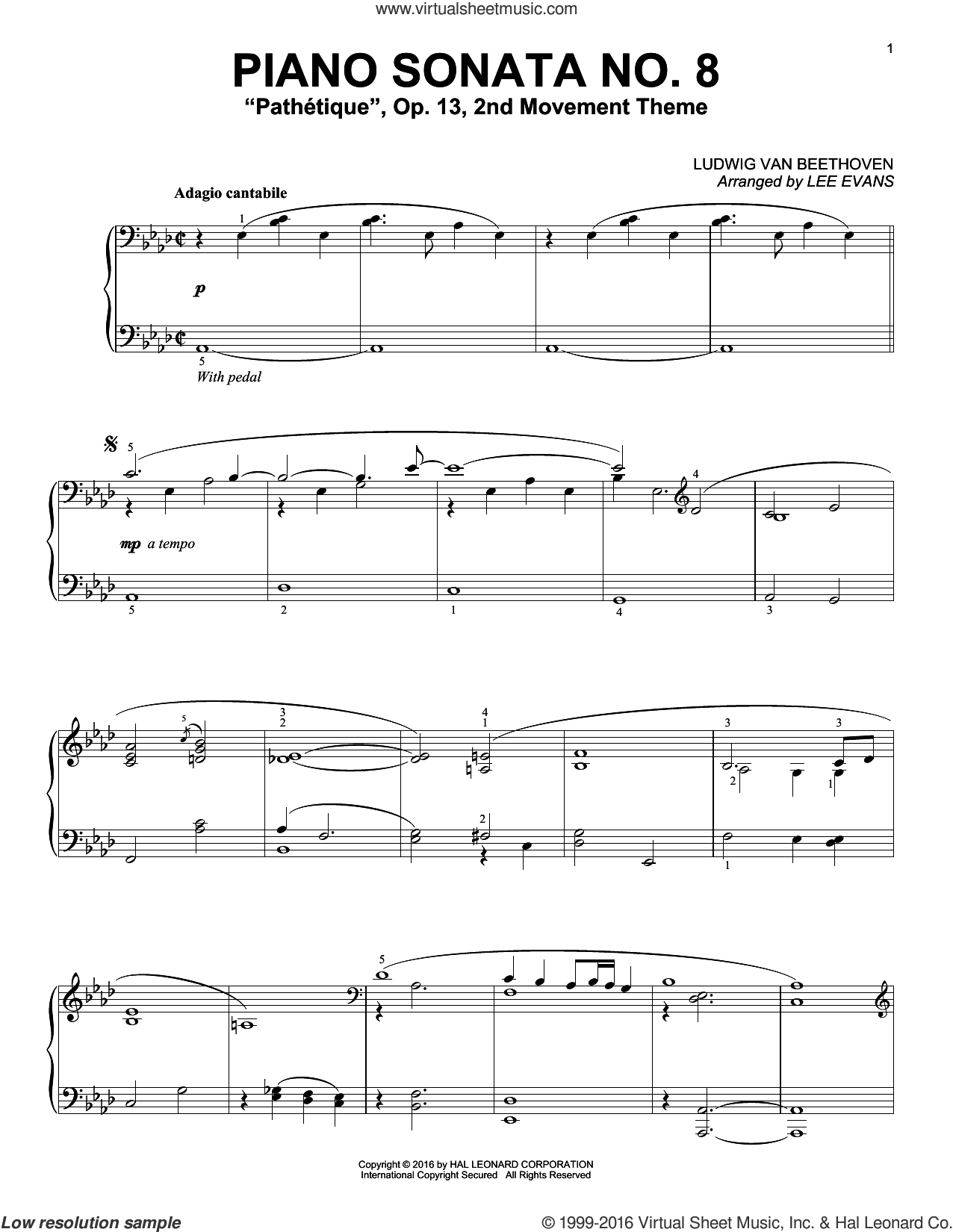 Piano Sonata No. 8, Op. 13 ('Pathetique'), 2nd Movement sheet music for piano solo by Ludwig van Beethoven and Lee Evans, classical score, intermediate skill level