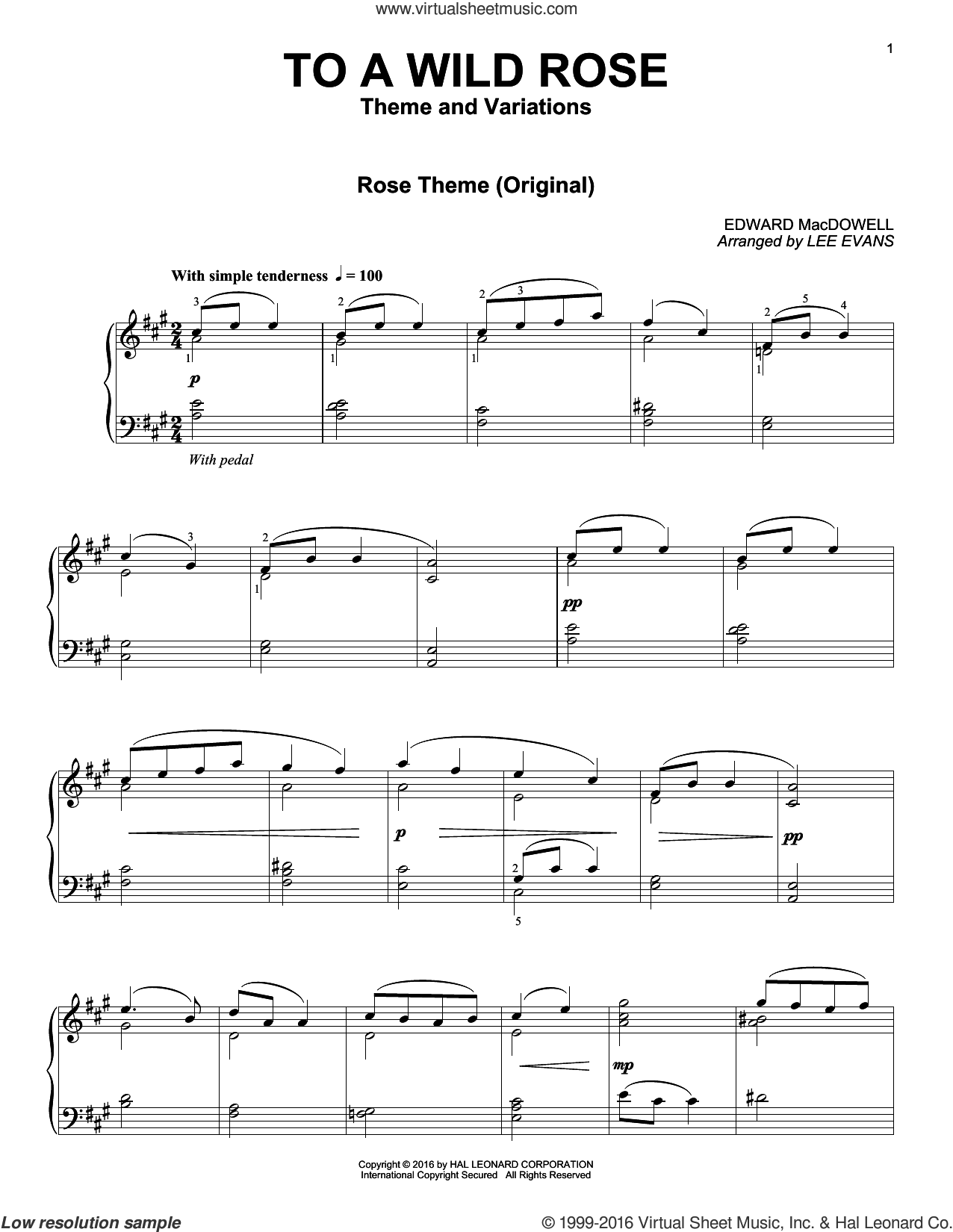To A Wild Rose sheet music for piano solo by Lee Evans and Edward MacDowell. Score Image Preview.