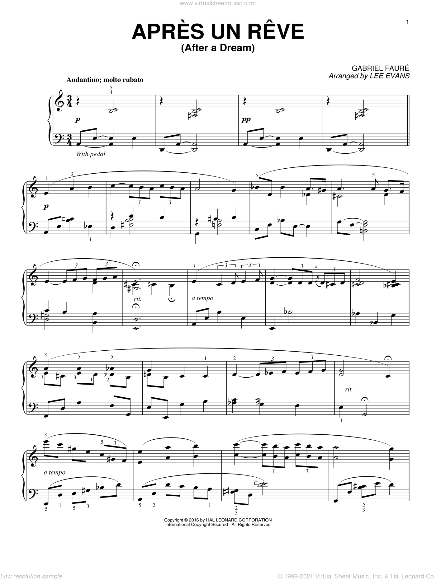 Apres un reve sheet music for piano solo by Gabriel Faure and Lee Evans, classical score, intermediate skill level