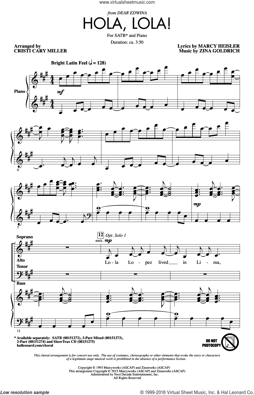 Hola, Lola! sheet music for choir (SATB) by Cristi Cary Miller, Marcy Heisler and Zina Goldrich. Score Image Preview.