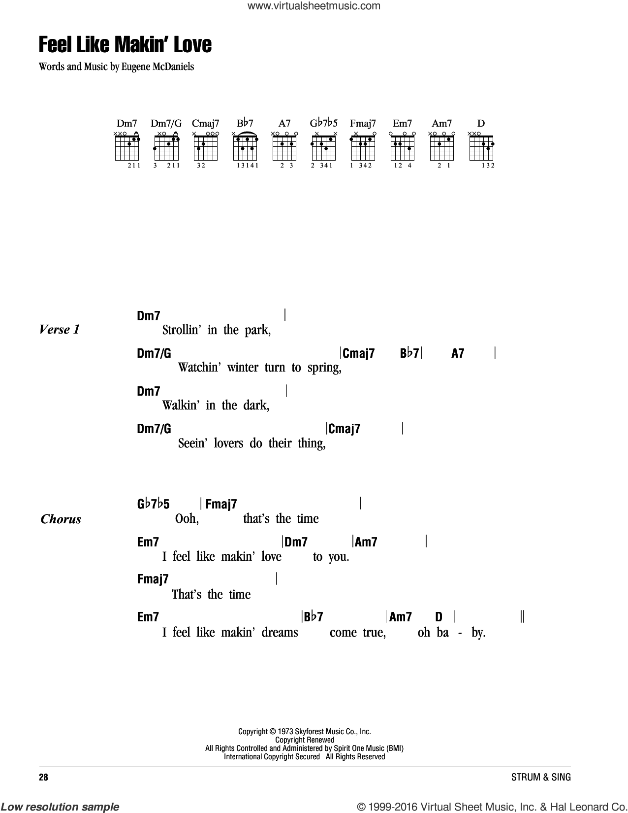 Feel Like Makin' Love sheet music for guitar (chords) by Roberta Flack and Eugene McDaniels, intermediate. Score Image Preview.
