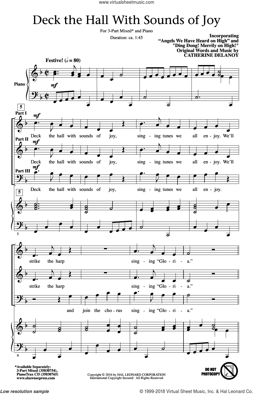 Deck The Hall With Sounds Of Joy sheet music for choir (3-Part Mixed) by Catherine Delanoy, intermediate. Score Image Preview.