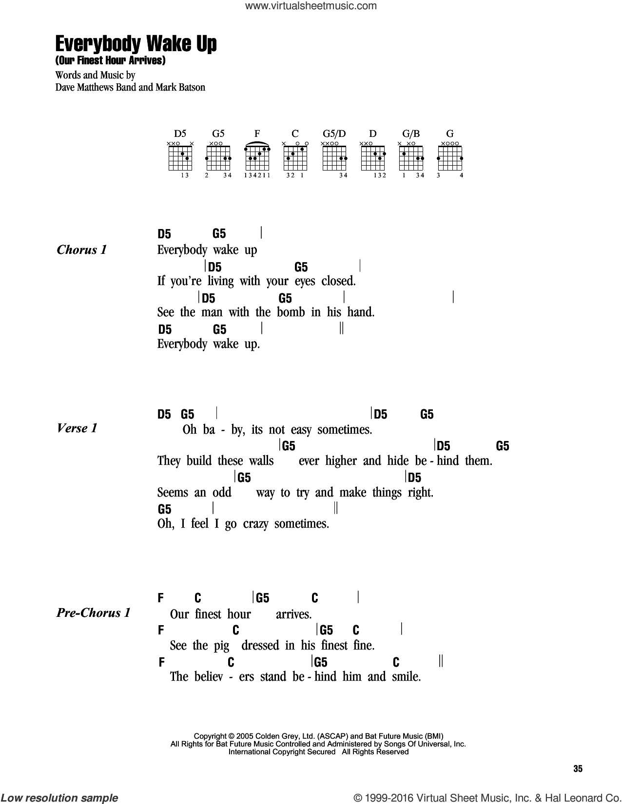 Everybody Wake Up (Our Finest Hour Arrives) sheet music for guitar (chords) by Dave Matthews Band and Mark Batson, intermediate skill level